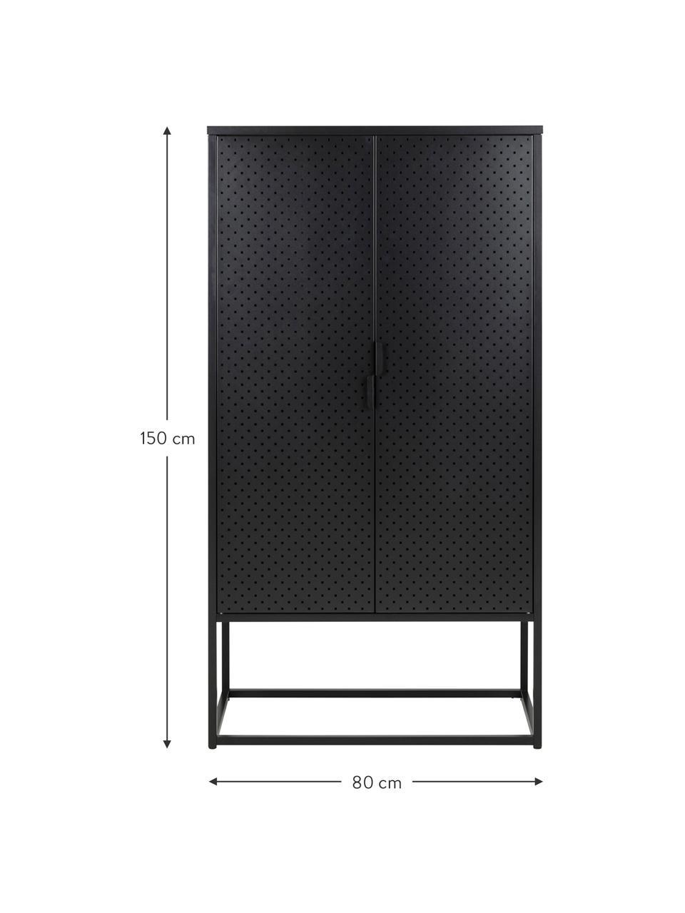 Credenza alta in metallo nero Newton, Metallo rivestito, Nero, Larg. 80 x Alt. 150 cm