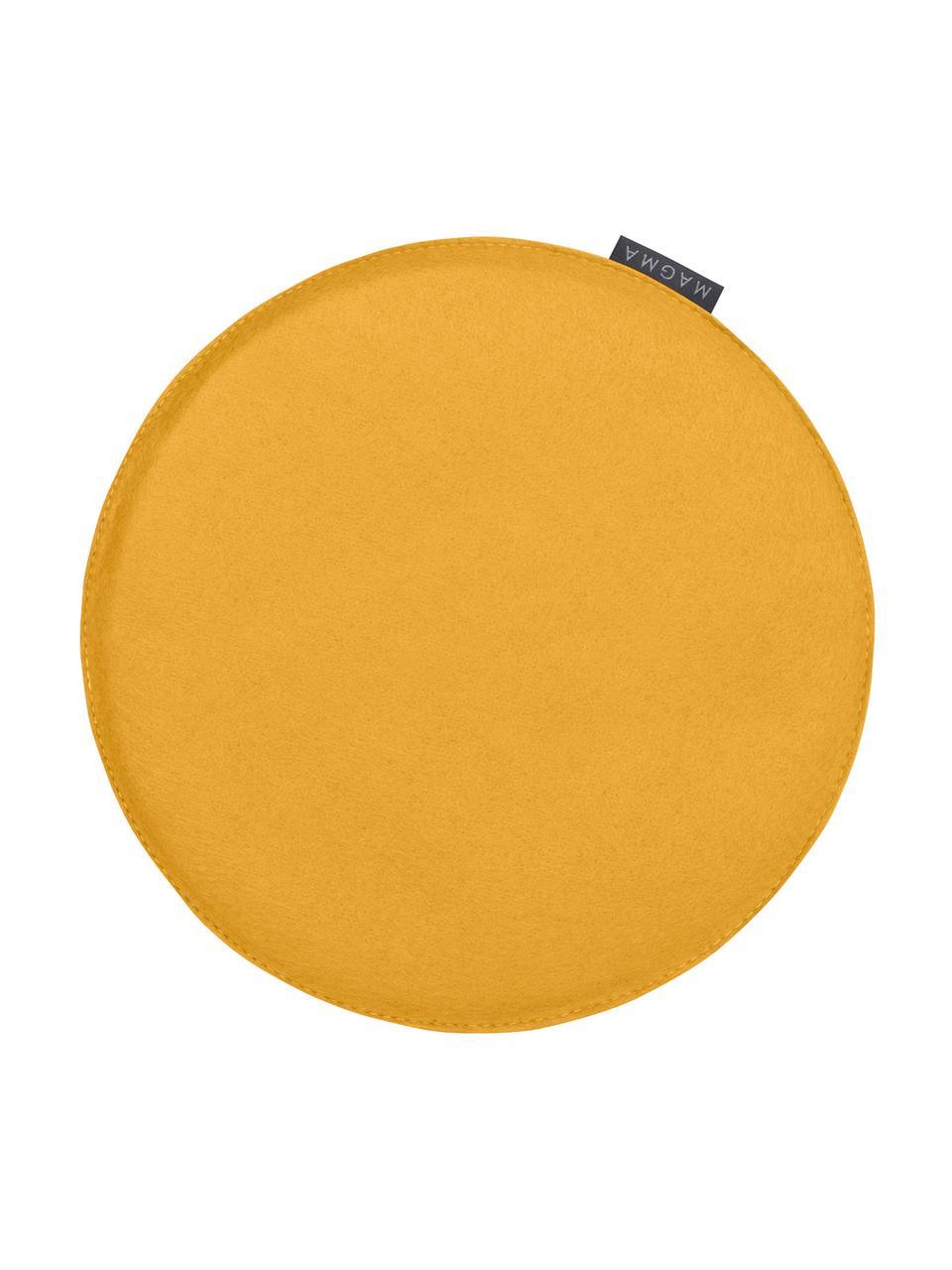 Okrągła poduszka na krzesło z filcu Avaro, 4 szt., Brunatnożółty, Ø 35 x W 1 cm