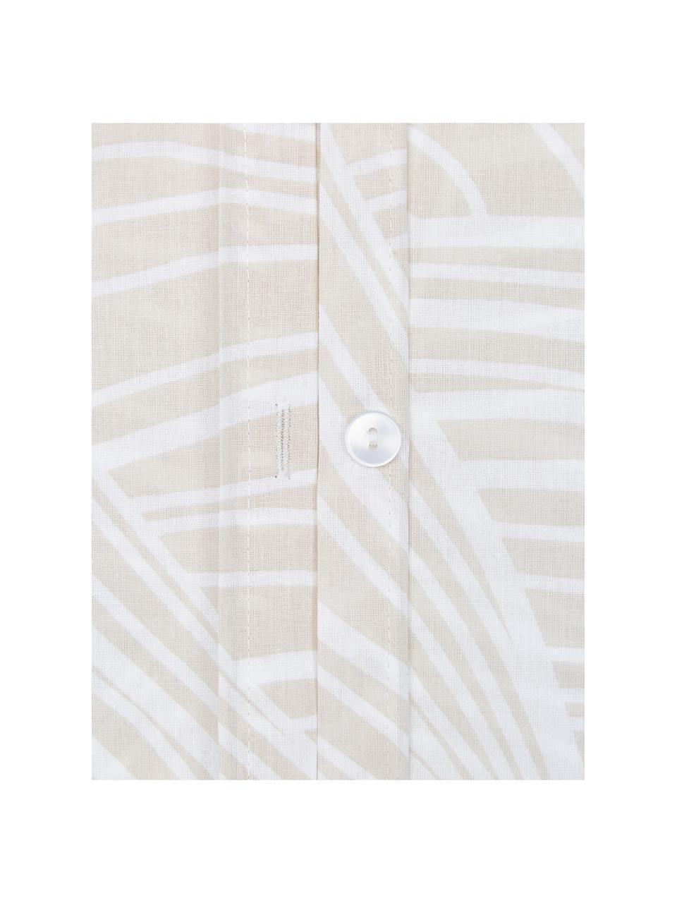 Pościel z bawełny Korey, Beżowy, biały, 135 x 200 cm + 1 poduszka 80 x 80 cm