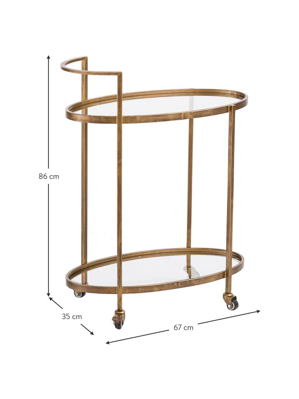 Bar cart Push Antic met glasplaten, Frame: vermessingd metaal, Messingkleurig, transparant, 67 x 86 cm