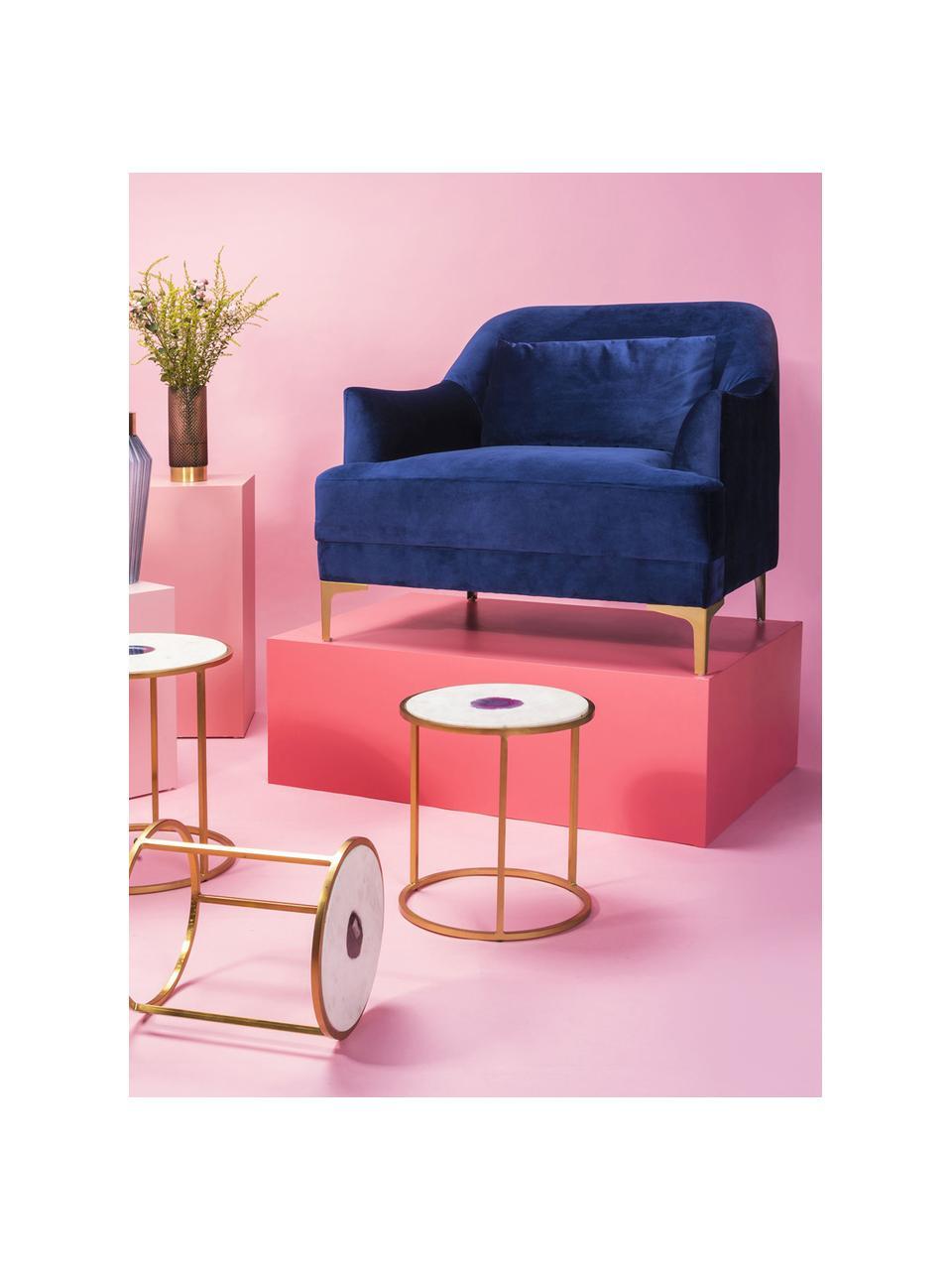 Samt-Sessel Proud in Blau, Bezug: Polyester (Samt), Füße: Metall, lackiert, Samt Blau, B 98 x T 86 cm