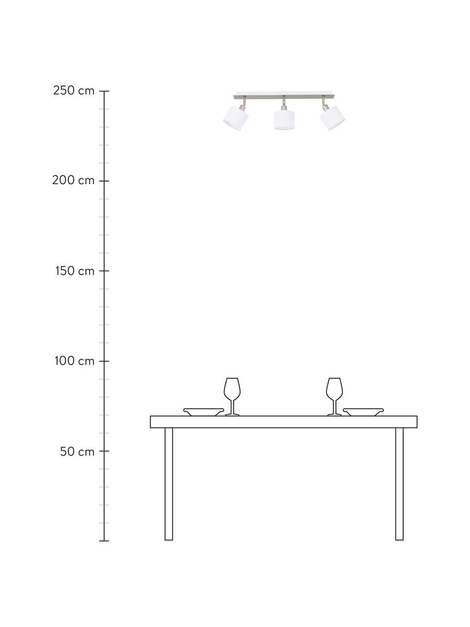 Klassischer Deckenstrahler Casper, Baldachin: Metall, vernickelt, Silberfarben,Weiß, 56 x 7 cm