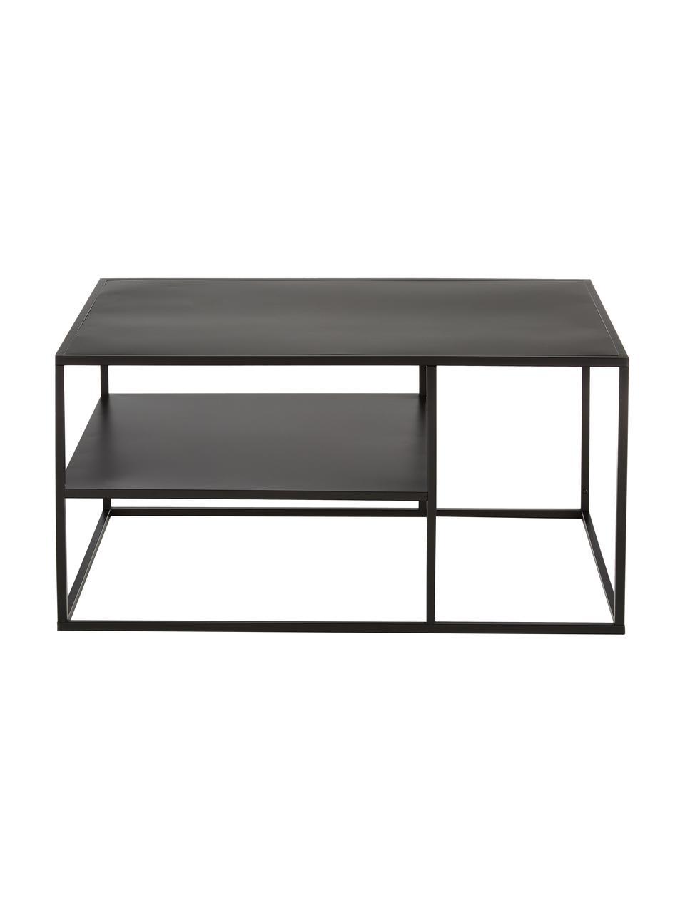 Metalen salontafel Neptun in zwart, Gepoedercoat metaal, Zwart, 90 x 45 cm