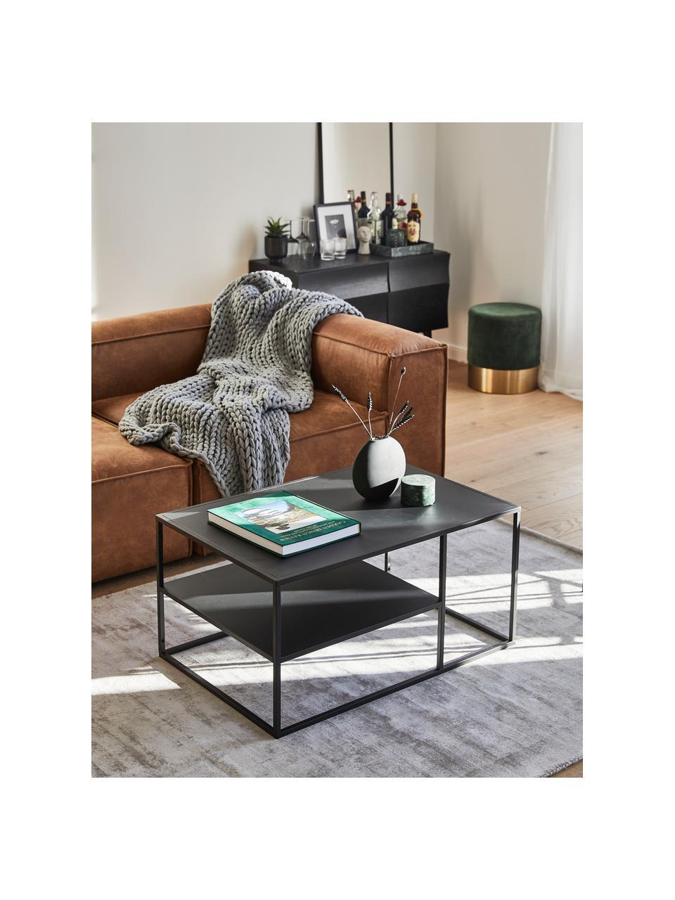 Tavolino da salotto in metallo nero Newton, Metallo verniciato a polvere, Nero, Larg. 90 x Alt. 45 cm