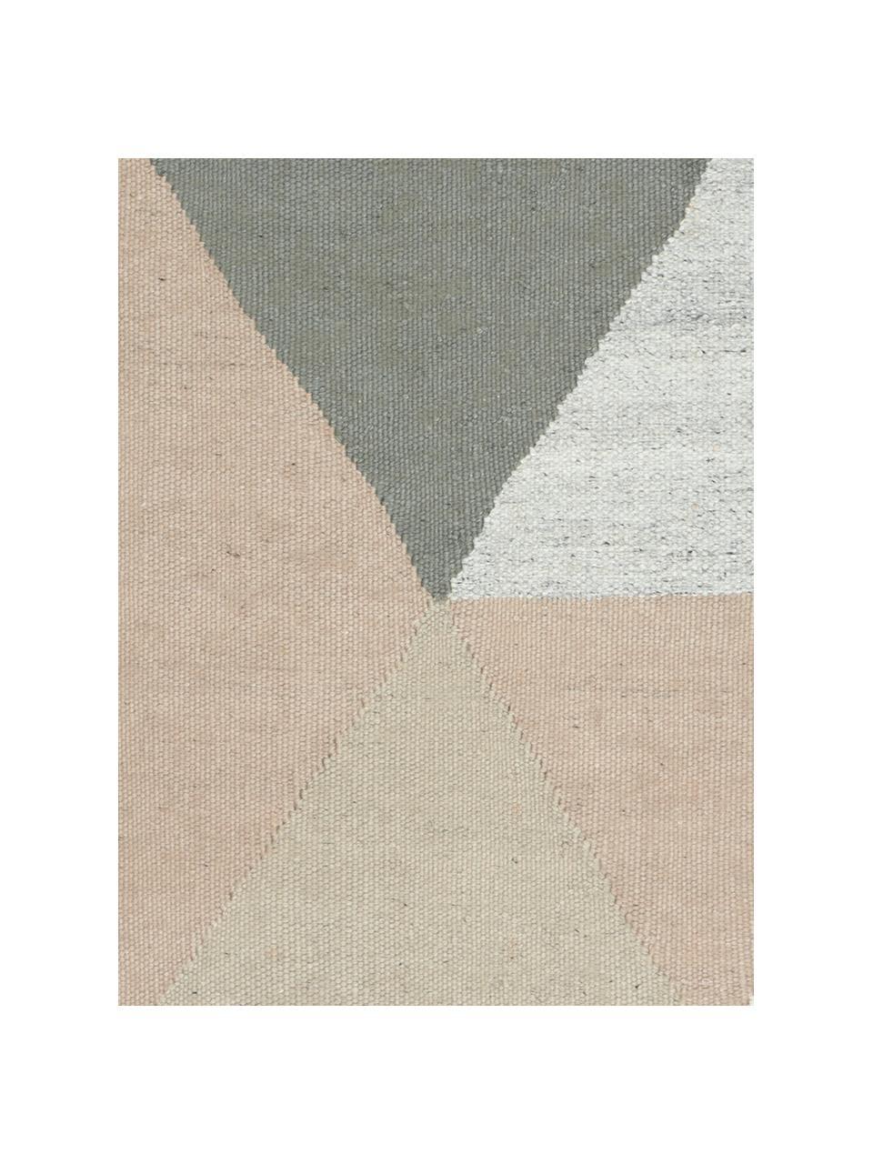 Handgewebter Viskoseteppich Snefrid mit abstraktem Muster, 80% Viskose, 20% Wolle, Grün, Grau, Beige, B 170 x L 240 cm (Größe M)