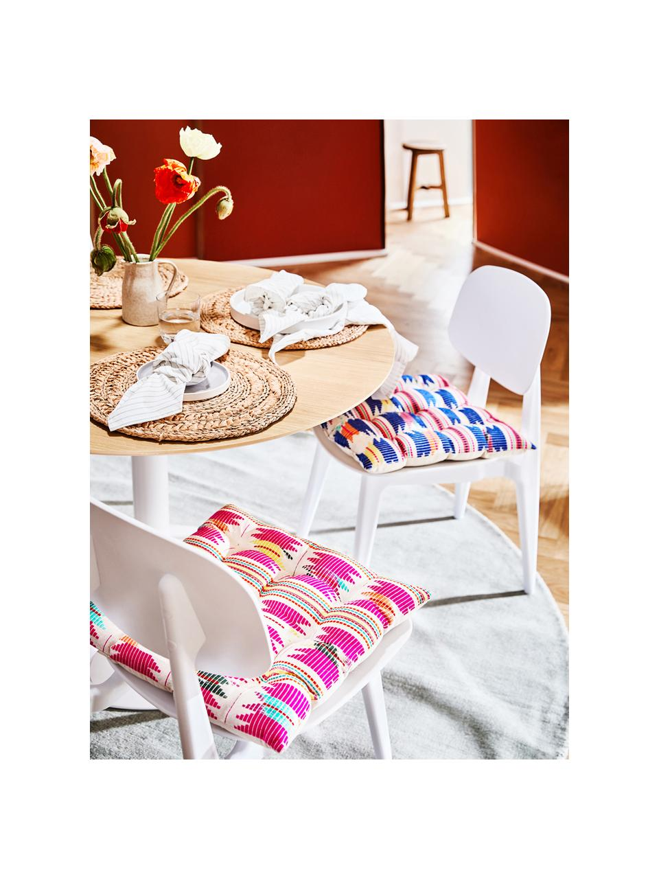 Buntes Sitzkissen Maria, Vorderseite: Mehrfarbig Rückseite: Beige, 40 x 40 cm