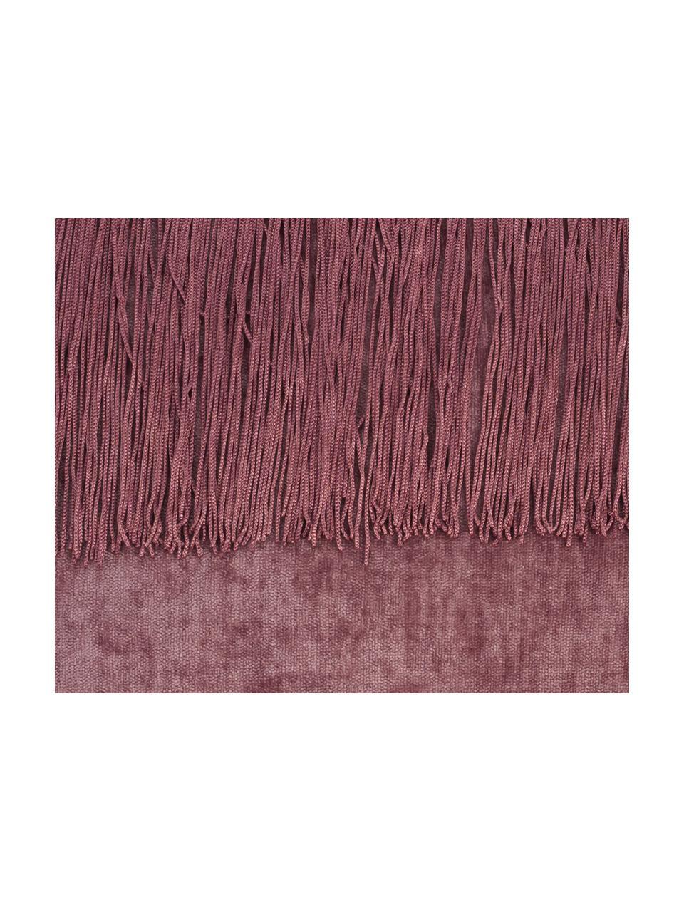 Poduszka z frędzlami z wypełnieniem Stefanie, Tapicerka: poliester, Blady różowy, S 45 x D 45 cm