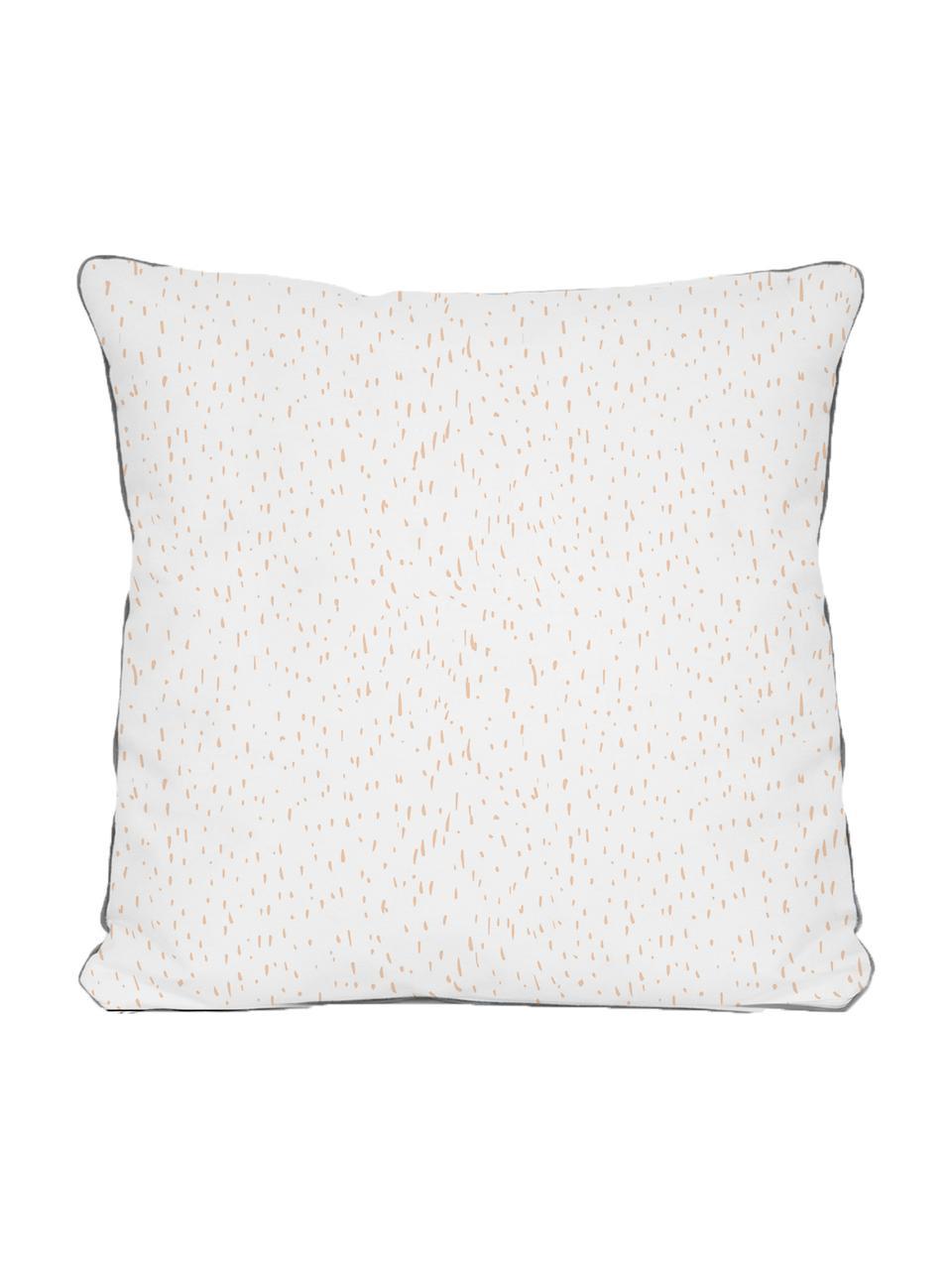 Kissenhülle Rabbit, Polyester, Weiß, Beige, Grau, Schwarz, 45 x 45 cm