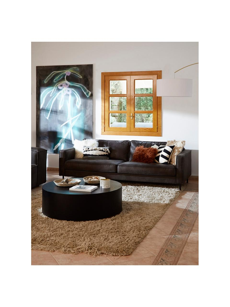 Sofa Hunter (3-Sitzer) in Braungrau aus recyceltem Leder, Bezug: Recyceltes Leder (70% Led, Gestell: Massives Birkenholz und h, Füße: Metall, pulverbeschichtet, Leder Braungrau, B 219 x T 90 cm