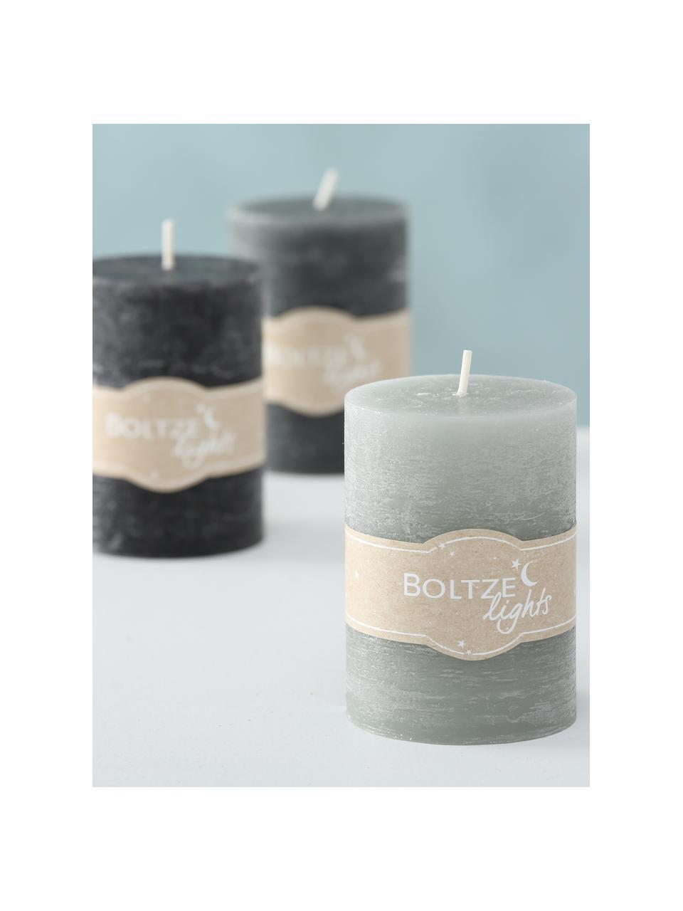 Set de velas Birara, 3pzas., Gris, Ø 7 x Al 10 cm