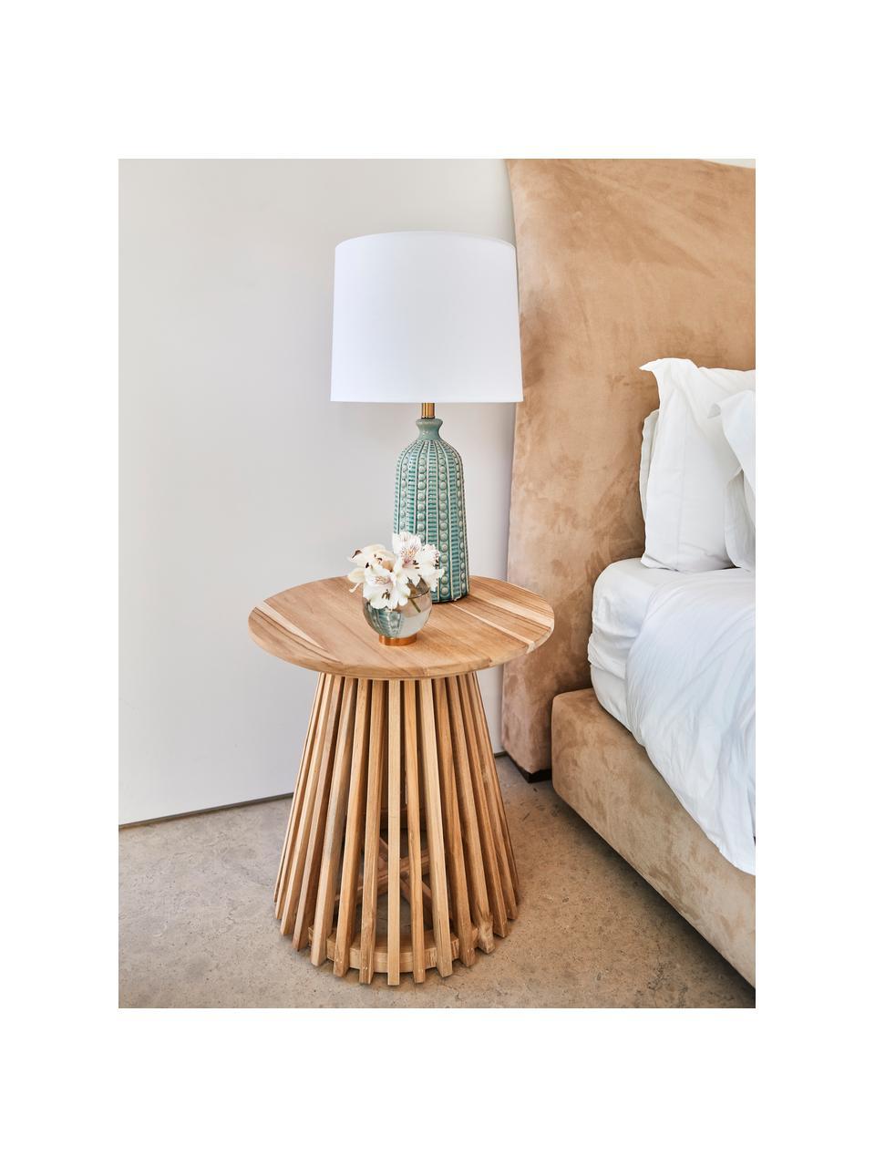 Große Keramik-Tischlampe Nizza in Salbeigrün, Lampenschirm: Textil, Lampenfuß: Keramik, Salbeigrün, Ø 33 x H 60 cm