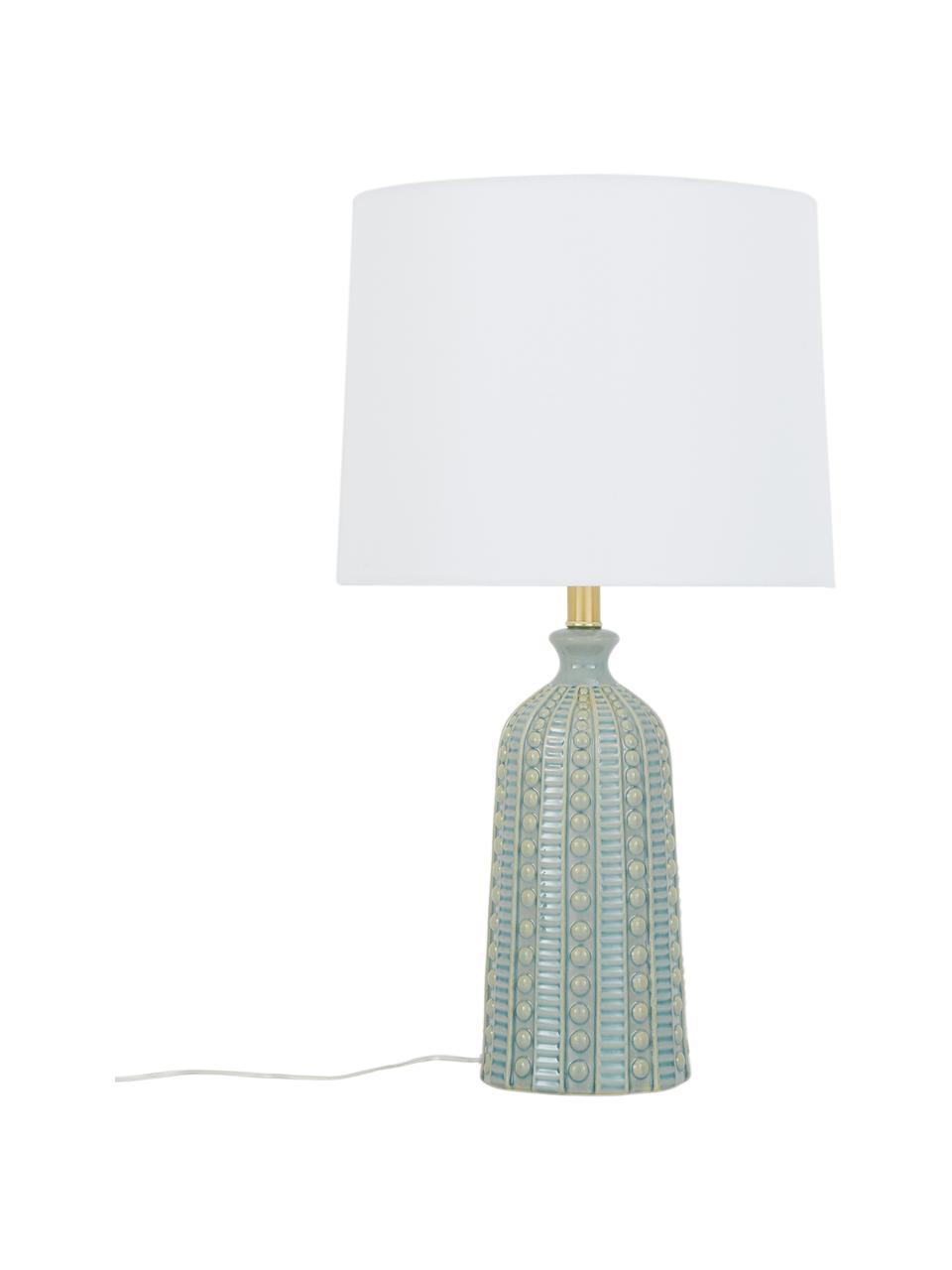 Grote keramiek tafellamp Nizza in saliegroen, Lampenkap: textiel, Lampvoet: keramiek, Saliegroen, Ø 33 x H 60 cm