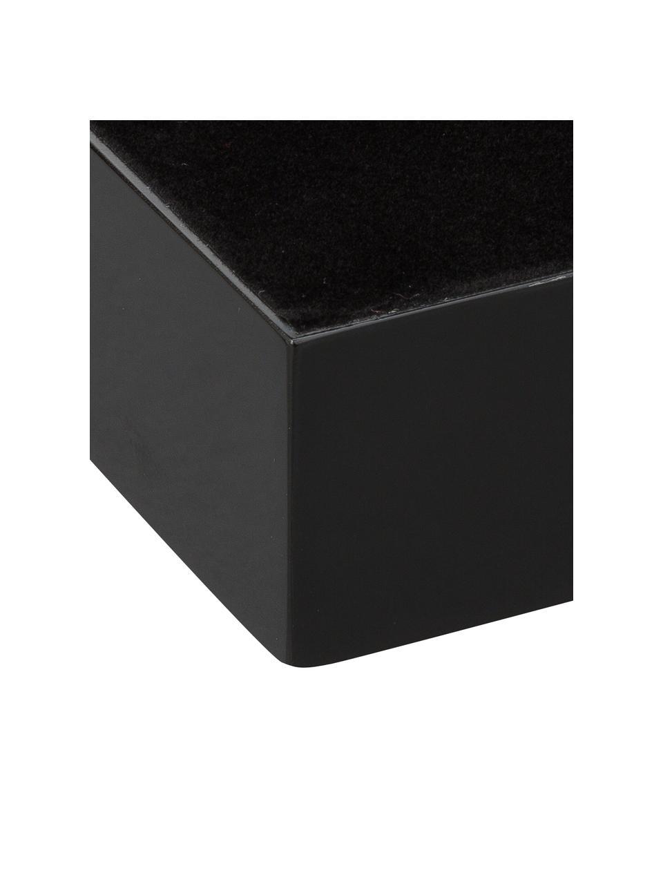 Hochglanz-Tablett Hayley in Schwarz, L 50 cm, B 35 cm, Tablett: Mitteldichte Holzfaserpla, Unterseite: Samt, Schwarz, Unterseite: Schwarz, L 50 cm