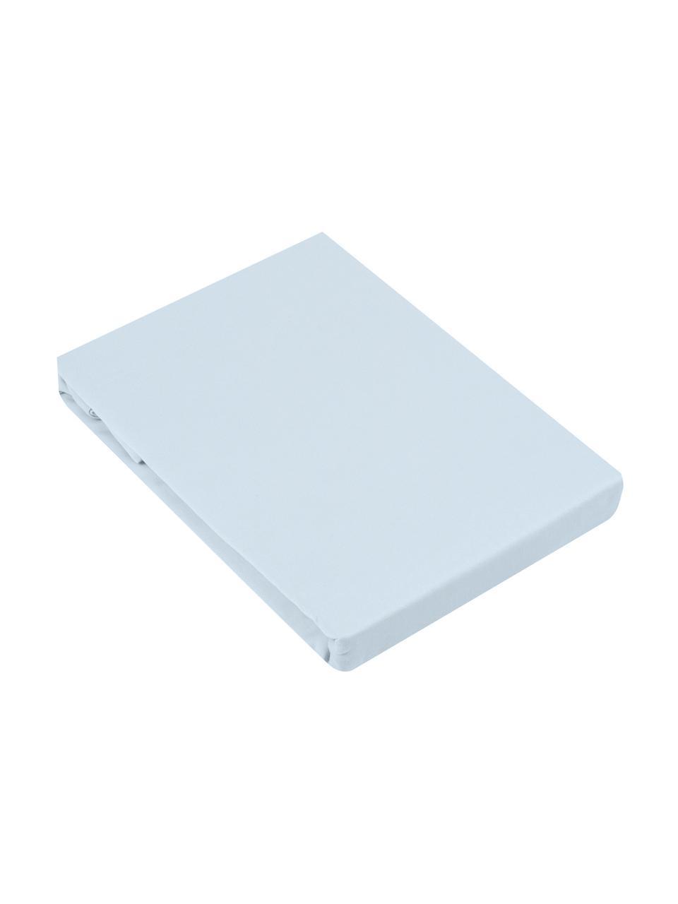 Lenzuolo con angoli in raso di cotone blu chiaro Comfort, Azzurro, Larg. 180 x Lung. 200 cm