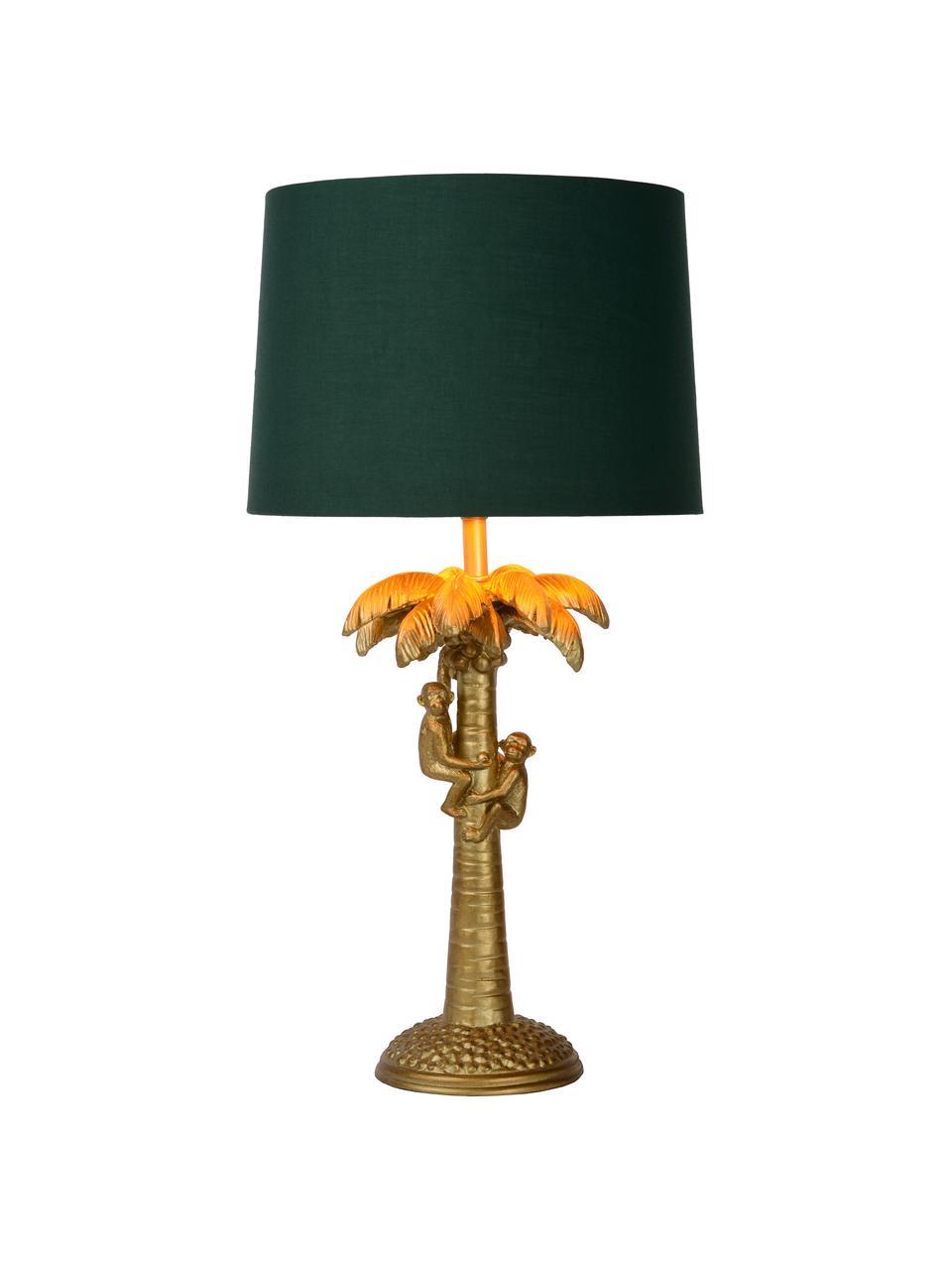Große Boho-Tischlampe Coconut in Grün-Gold, Lampenschirm: Baumwolle, Lampenfuß: Kunststoff, Messingfarben, Grün, Ø 31 x H 58 cm