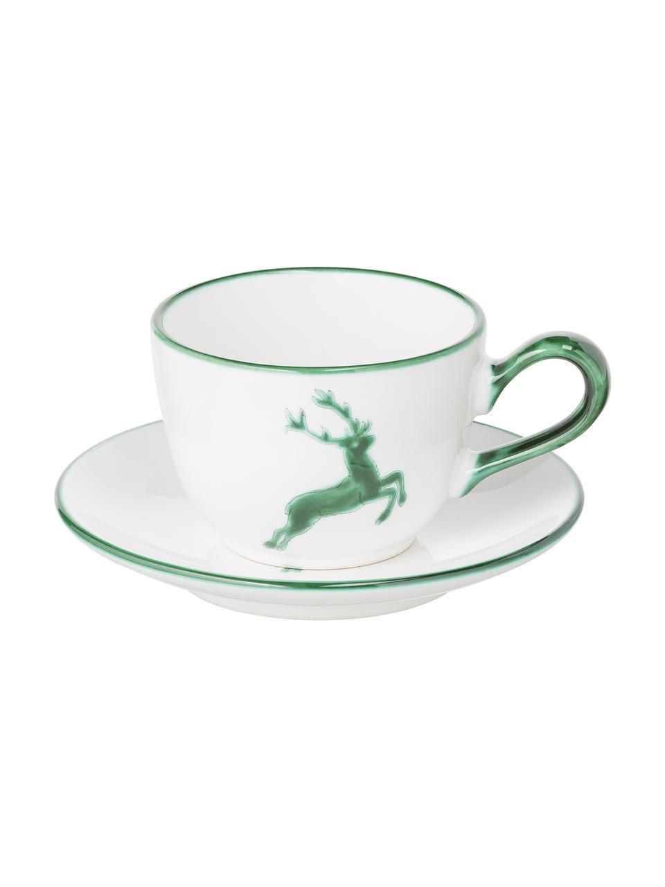 Handbemaltes Kaffeeservice Classic Grüner Hirsch, 2 Personen (6-tlg.), Keramik, Grün, Weiß, Sondergrößen