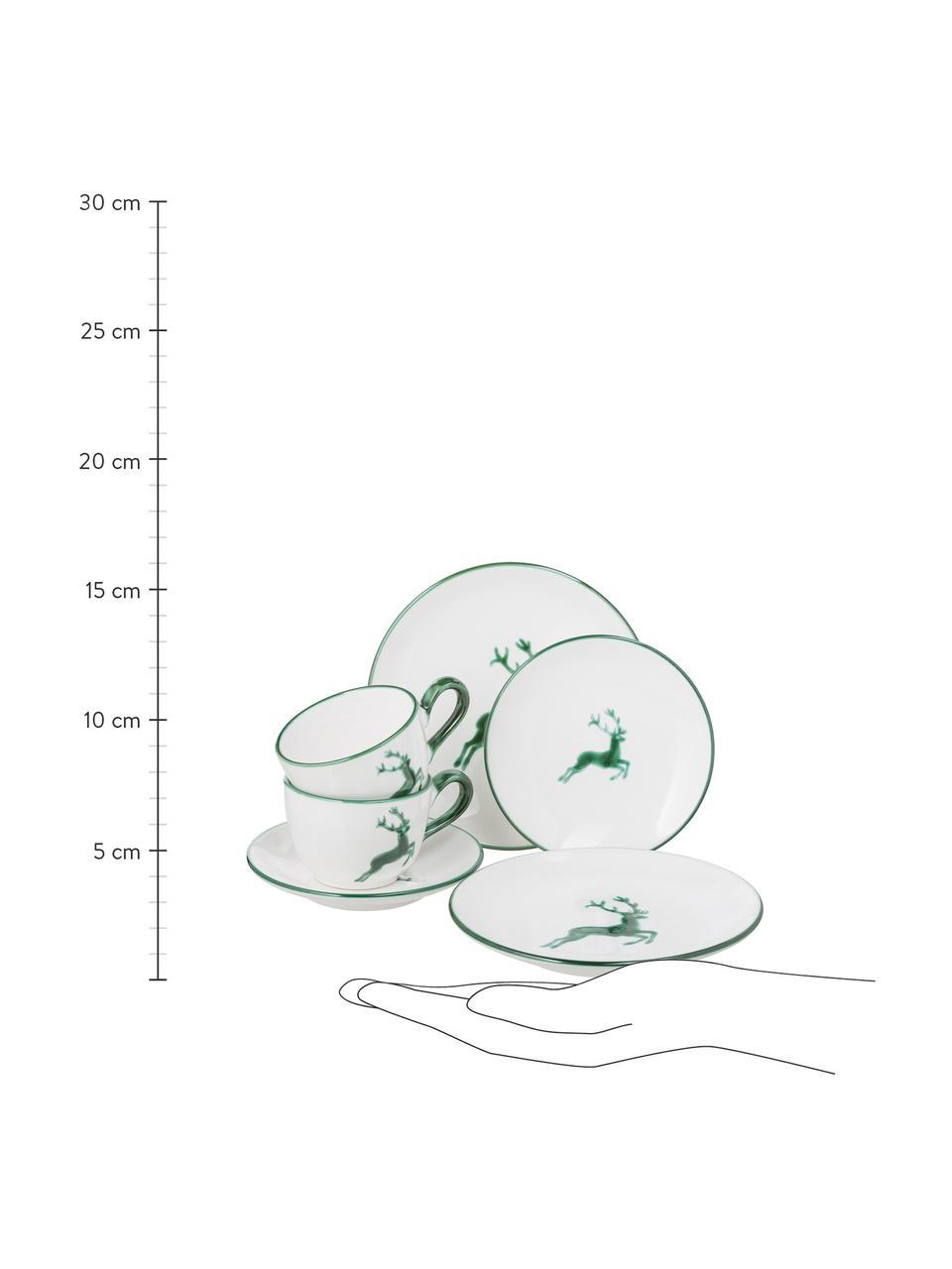 Ręcznie malowany serwis do kawy Classic Grüner Hirsch, 6 elem., Ceramika, Zielony, biały, Komplet z różnymi rozmiarami