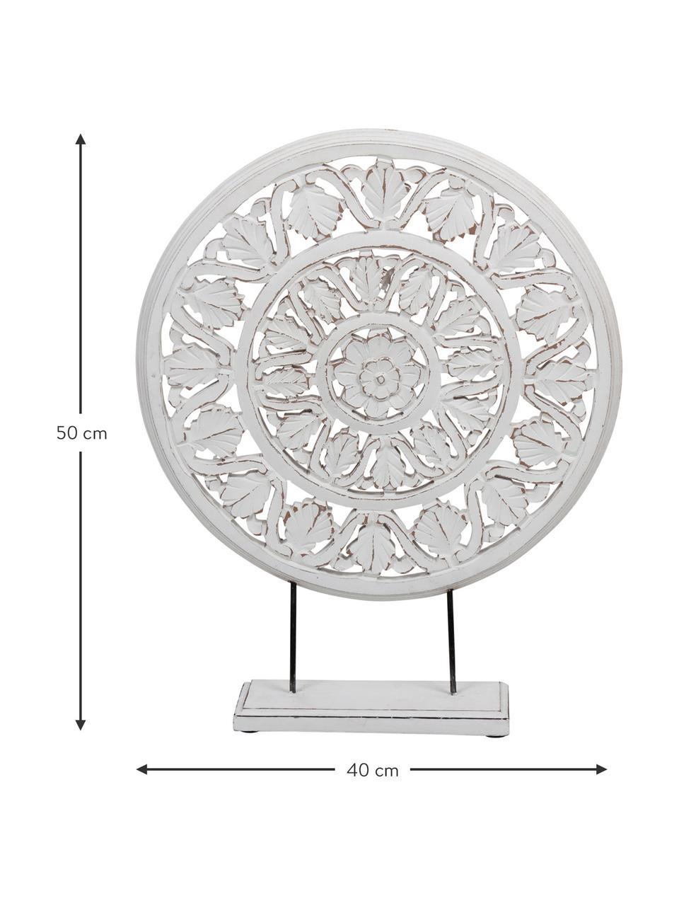 Oggetto da decorazione Brahma, Legno naturale, Bianco, finitura antica, L 40 x A 50 cm
