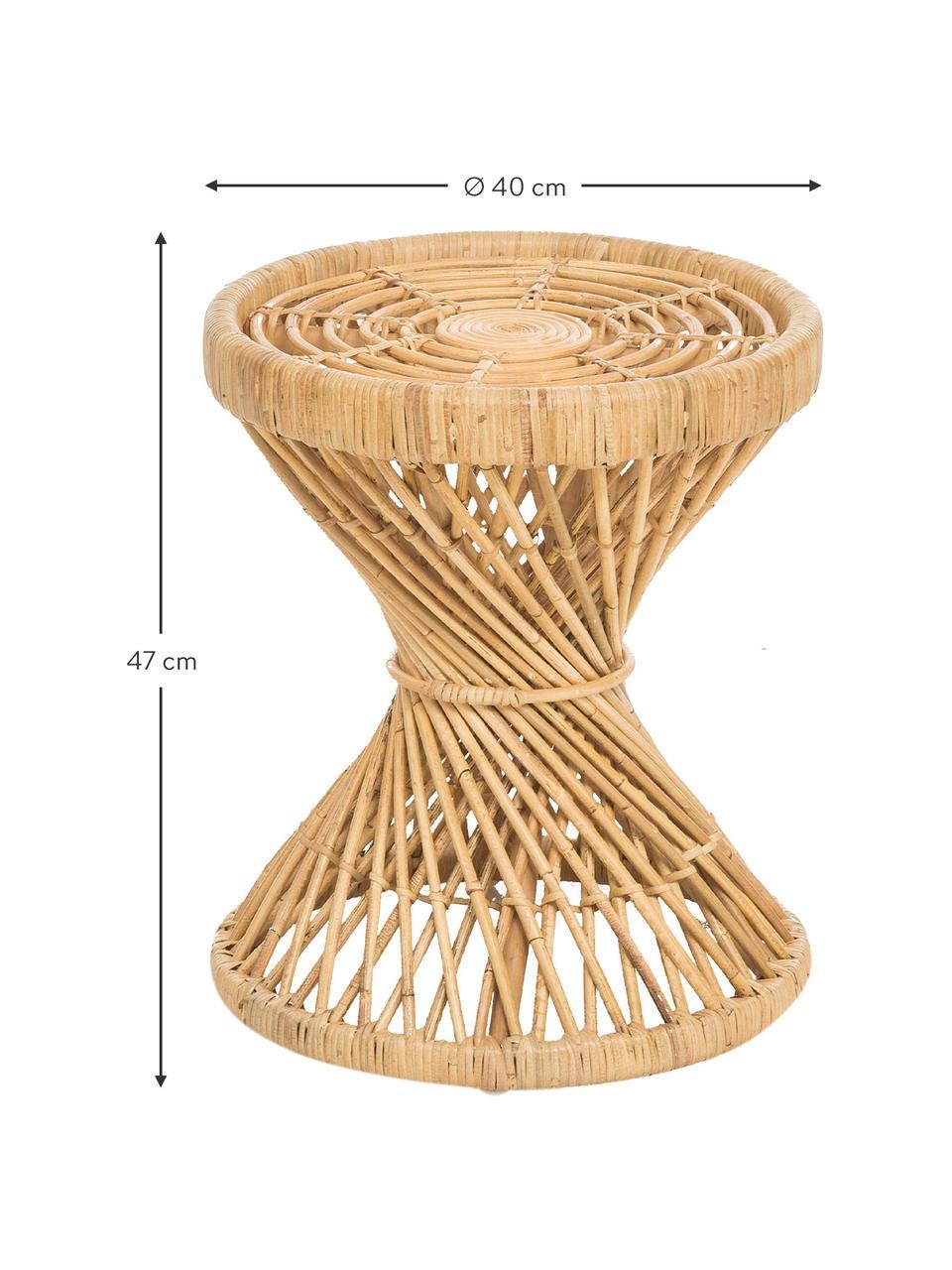 Stolik pomocniczy z rattanu boho Marvel, Naturalny rattan, Brązowy, Ø 40 x W 47 cm