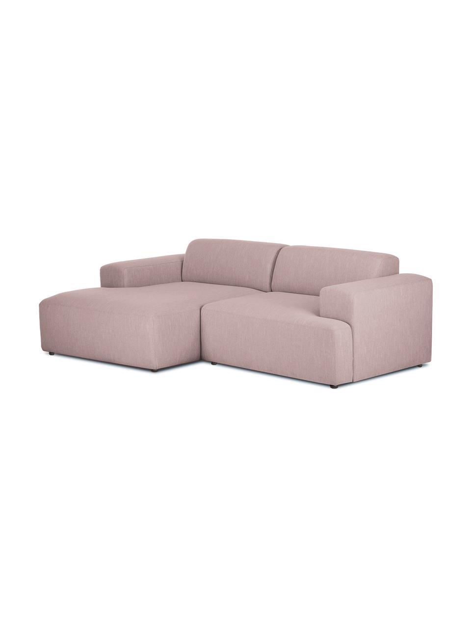 Hoekbank Melva (3-zits) in roze, Bekleding: 100% polyester, Frame: massief grenenhout, FSC-g, Poten: kunststof, Geweven stof roze, B 239 x D 143 cm