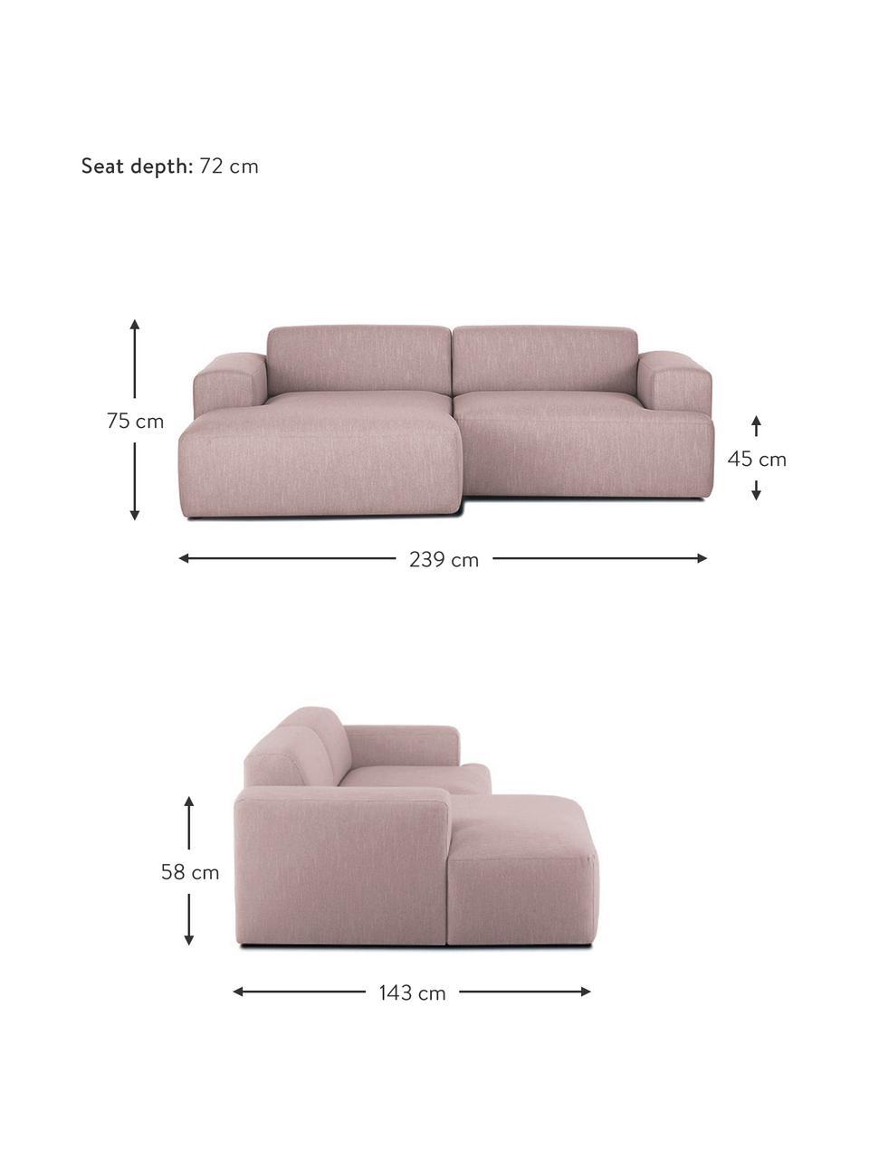 Divano angolare a 3 posti in tessuto rosa Melva, Rivestimento: 100% poliestre Il rivesti, Struttura: pino massiccio, certifica, Tessuto rosa, Larg. 239 x Prof. 143 cm