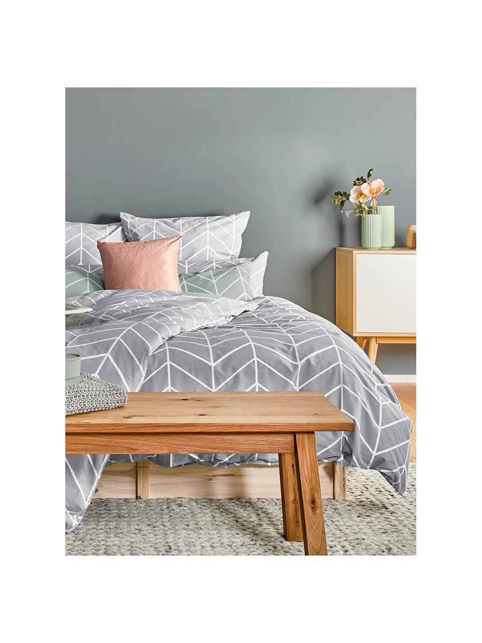 Pościel z bawełny Mirja, Szary, kremowobiały, 135 x 200 cm + 1 poduszka 80 x 80 cm