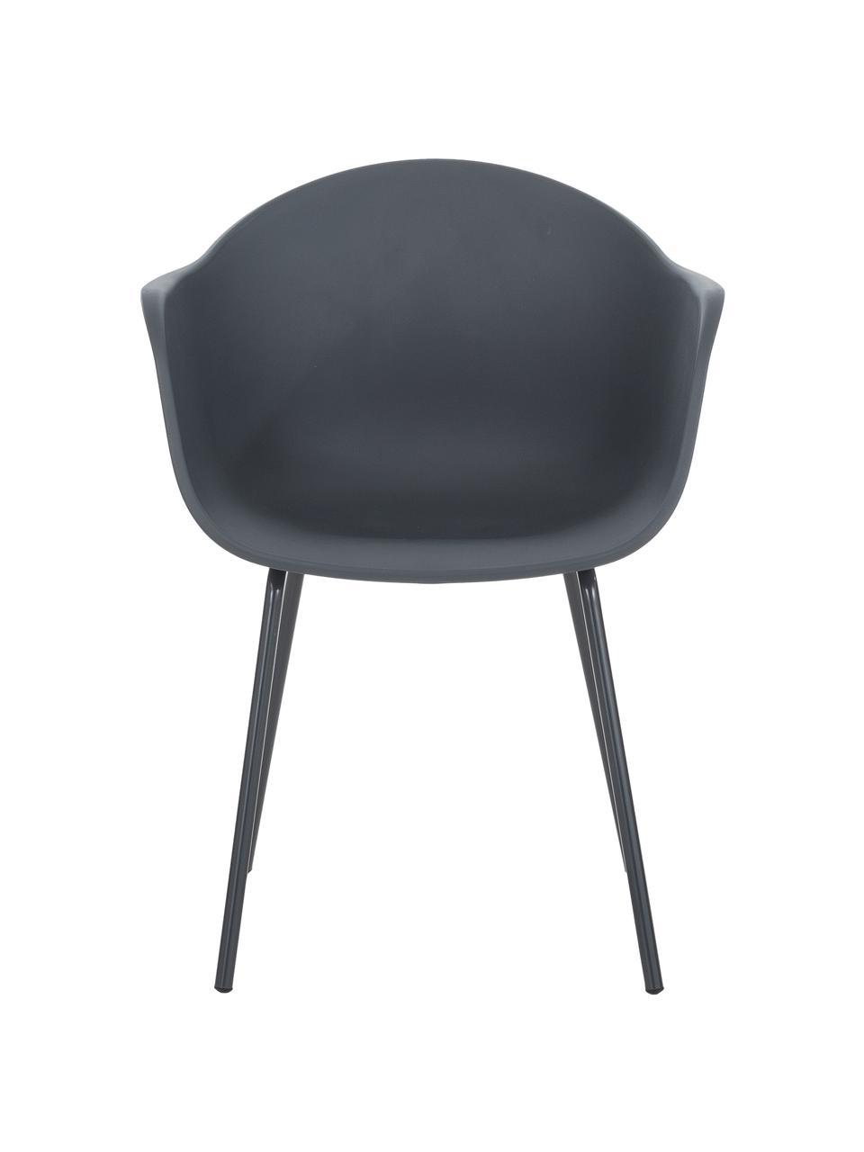 Sedia con braccioli in plastica con gambe in metallo Claire, Seduta: materiale sintetico, Gambe: metallo verniciato a polv, Grigio, Larg. 60 x Alt. 54 cm