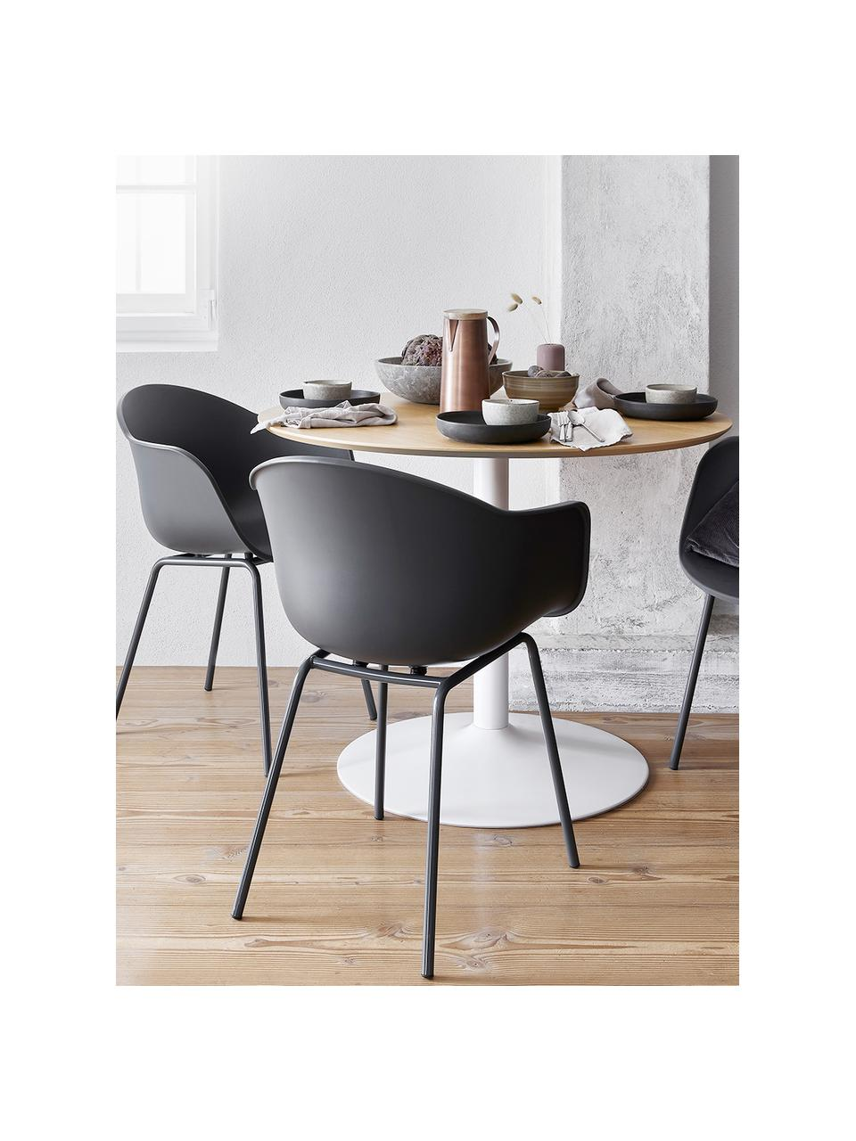 Krzesło z podłokietnikami z tworzywa sztucznego Claire, Nogi: metal malowany proszkowo, Szary, S 60 x G 54 cm