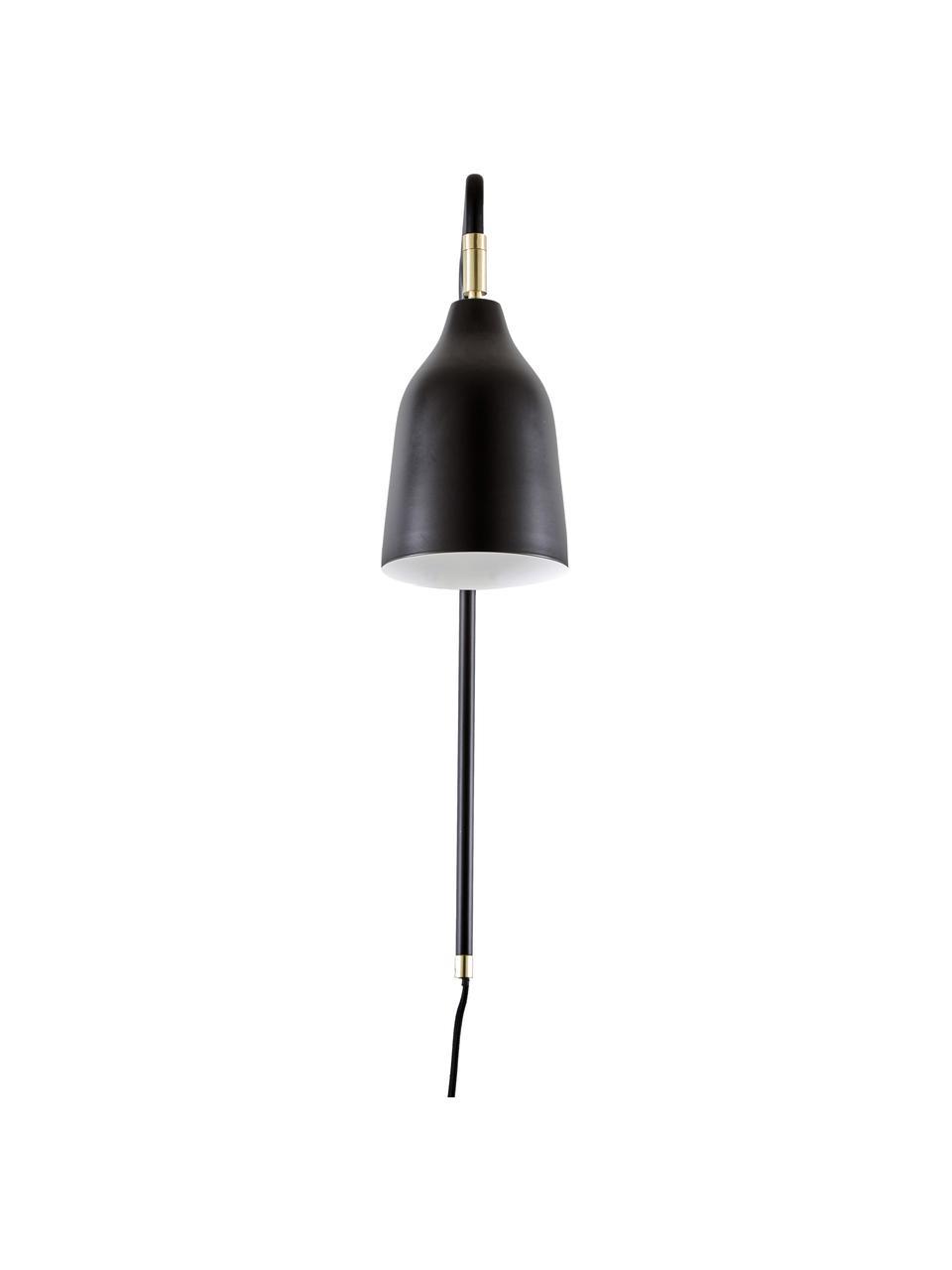 Wandlamp Mora met stekker, Lampenkap: gepoedercoat metaal, Frame: gepoedercoat metaal, Decoratie: vermessingd metaal, Zwart, goudkleurig, 12 x 50 cm