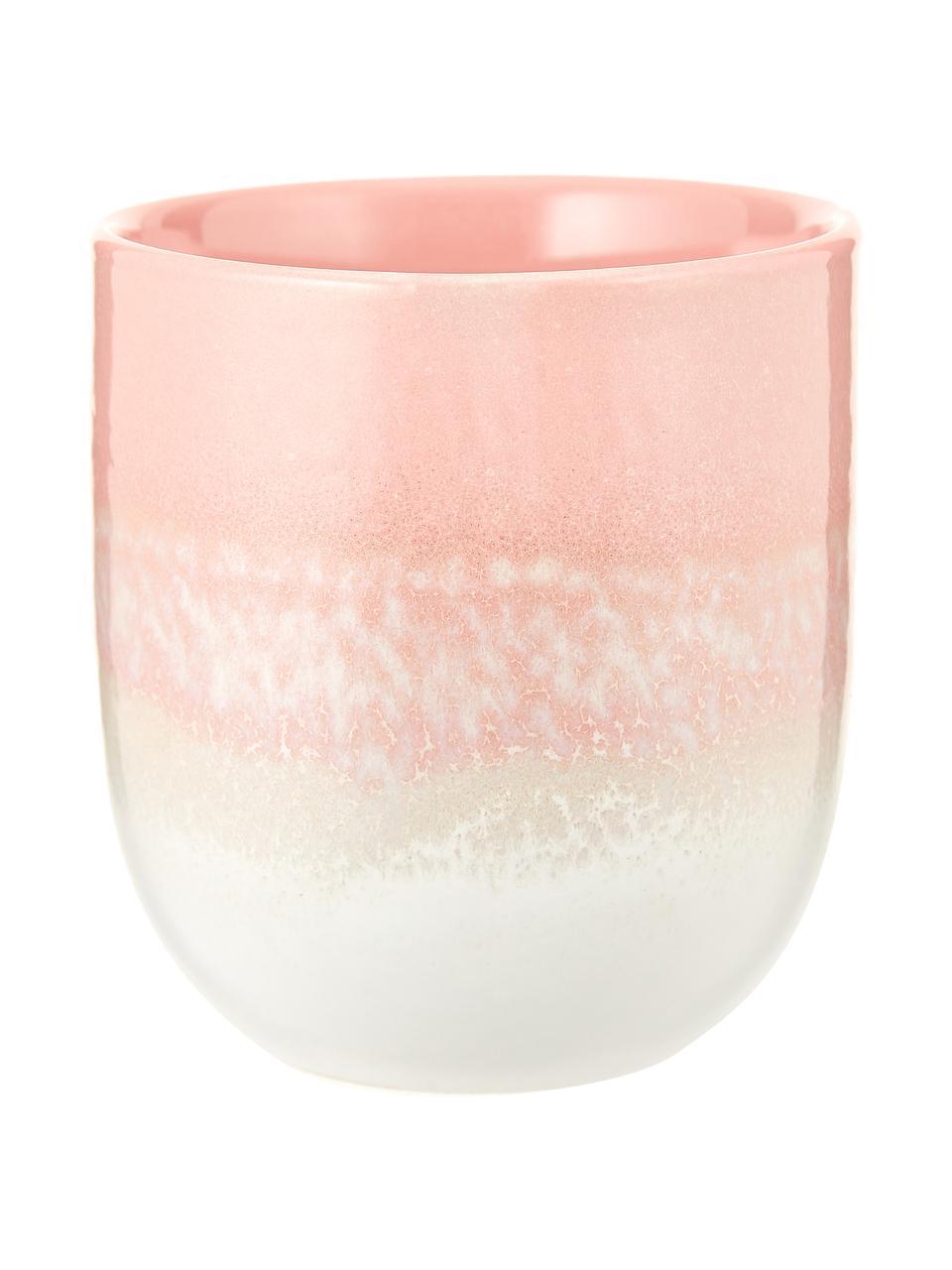 Handgemachte Becher Café mit Farbverlauf, 4 Stück, Steingut, Pink, Ø 8 x H 9 cm