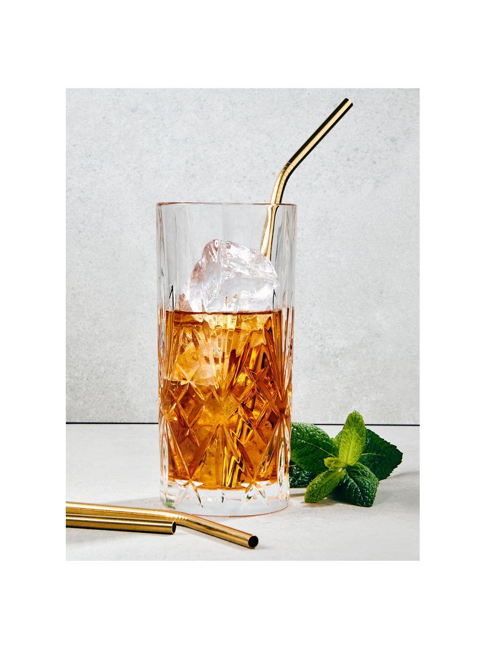 Komplet słomek ze szczotką Manhattan Lounge, 4 szt., Stal szlachetna, tworzywo sztuczne, Odcienie złotego, D 22 cm