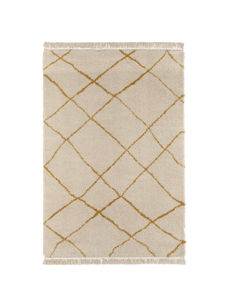 Tappeto con motivo a rombi Primrose, Crema, giallo dorato, Larg.160 x Lung. 230 cm  (taglia M)