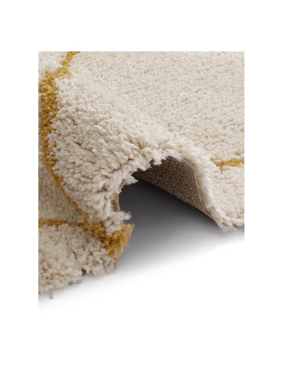 Puszysty dywan z wysokim stosem Primrose, Kremowy, żółtozłoty, S 120 x D 170 cm