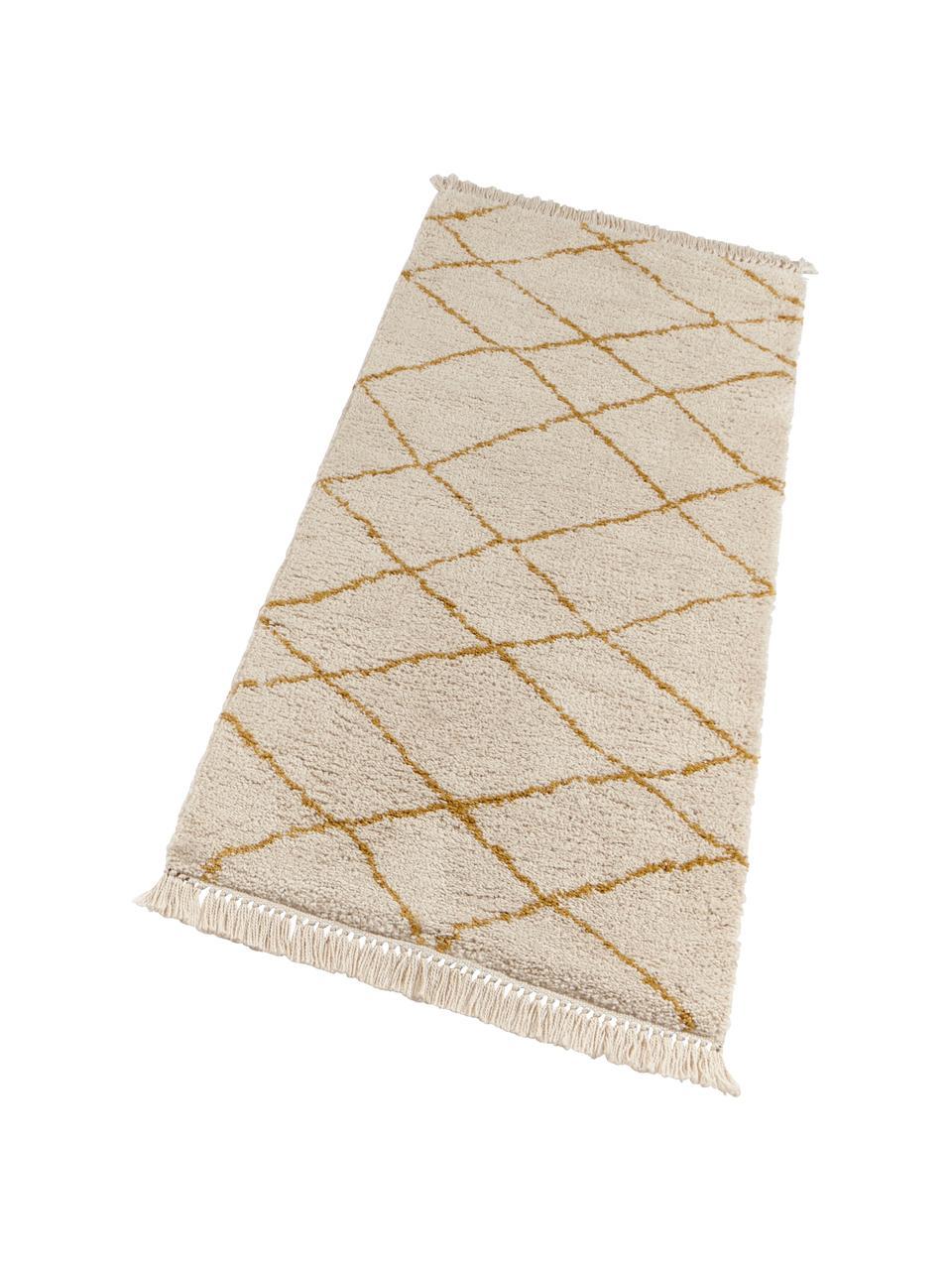 Zacht hoogpolig vloerkleed Primrose in in crèmekleur met ruitjesmotief, 100% polypropyleen, Crèmekleurig, goudgeel, B 160 x L 230 cm (maat M)