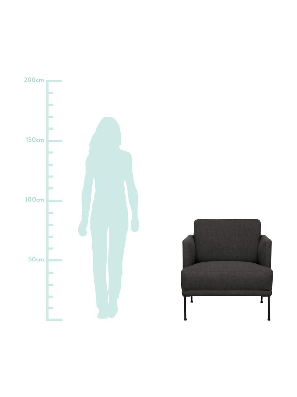 Sessel Fluente in Dunkelgrau mit Metall-Füßen, Bezug: 100% Polyester Der hochwe, Gestell: Massives Kiefernholz, Füße: Metall, pulverbeschichtet, Webstoff Dunkelgrau, B 74 x T 85 cm