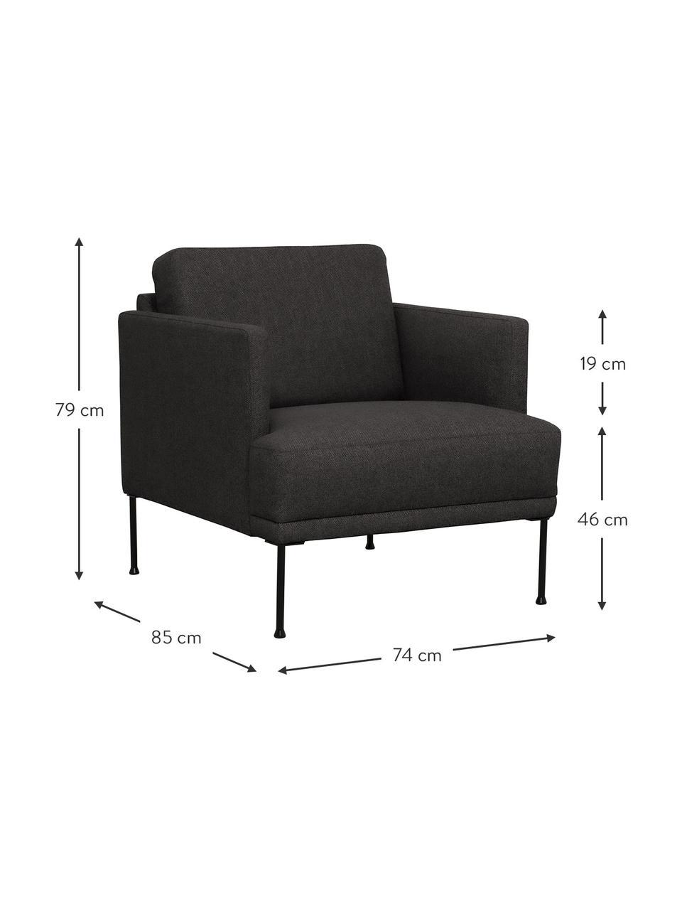 Fotel z metalowymi nogami Fluente, Tapicerka: 100% poliester Dzięki tka, Nogi: metal malowany proszkowo, Ciemnyszary, S 74 x G 85 cm