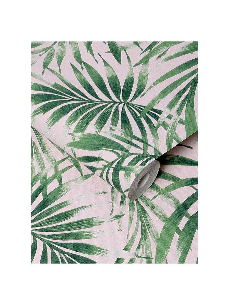 Tapete Leaves Blush, Vlies, Grün, Rosa, 52 x 1005 cm