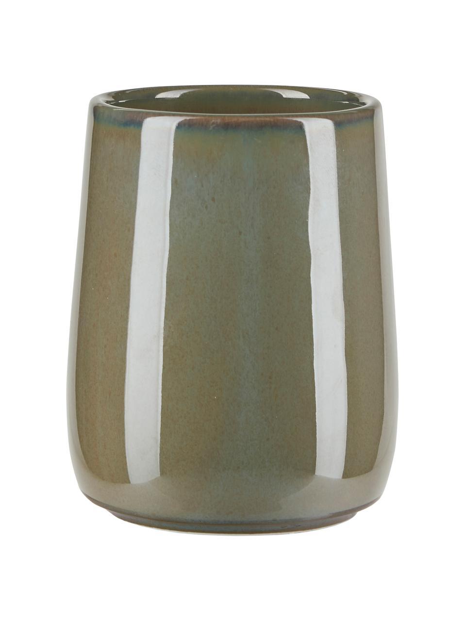 Kubek na szczoteczki z ceramiki Tin, Ceramika, Zielony, Ø 8 x W 11 cm