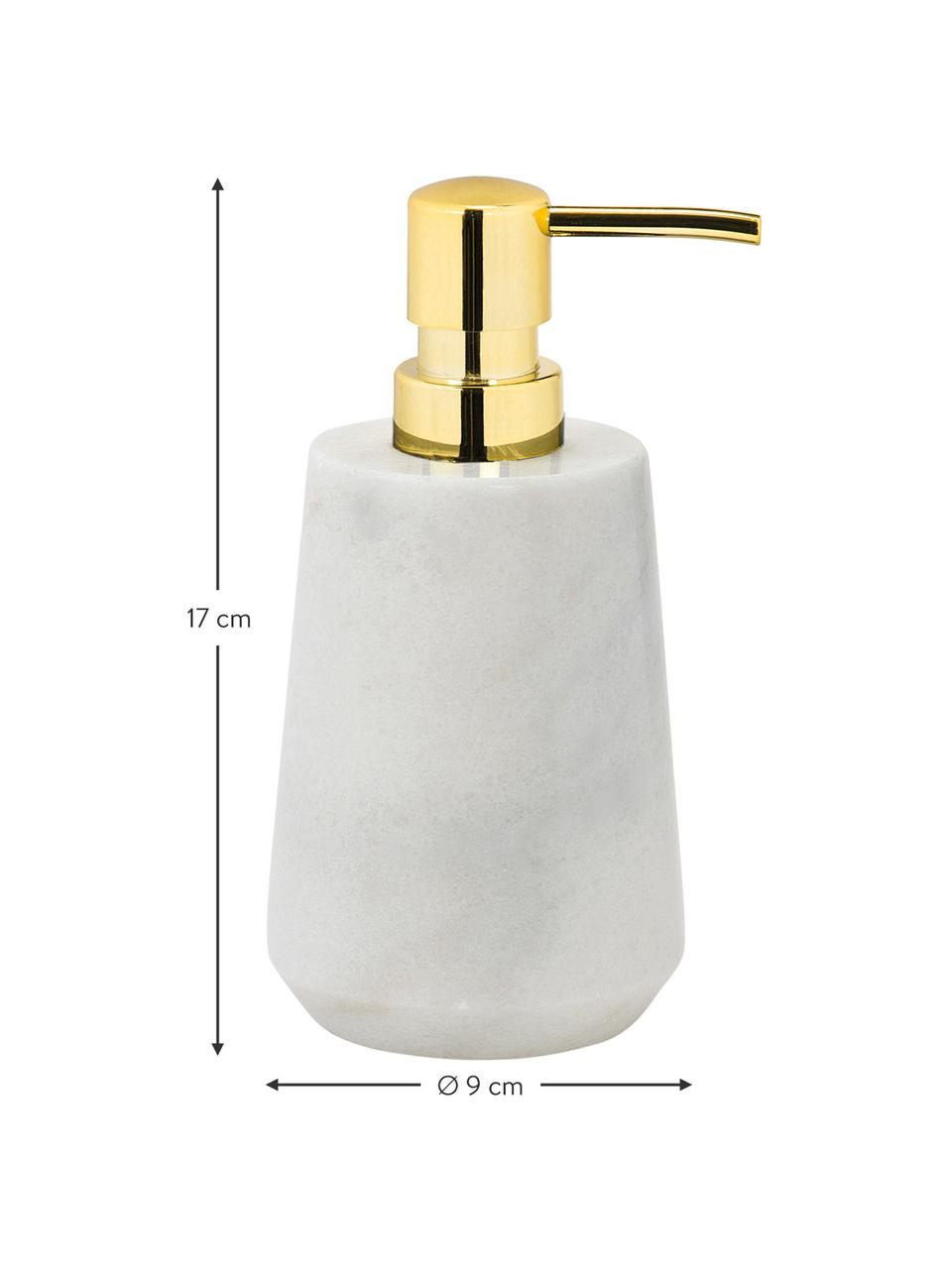 Dozownik do mydła z marmuru Lux, Biały, odcienie mosiądzu, Ø 9 x W 17 cm