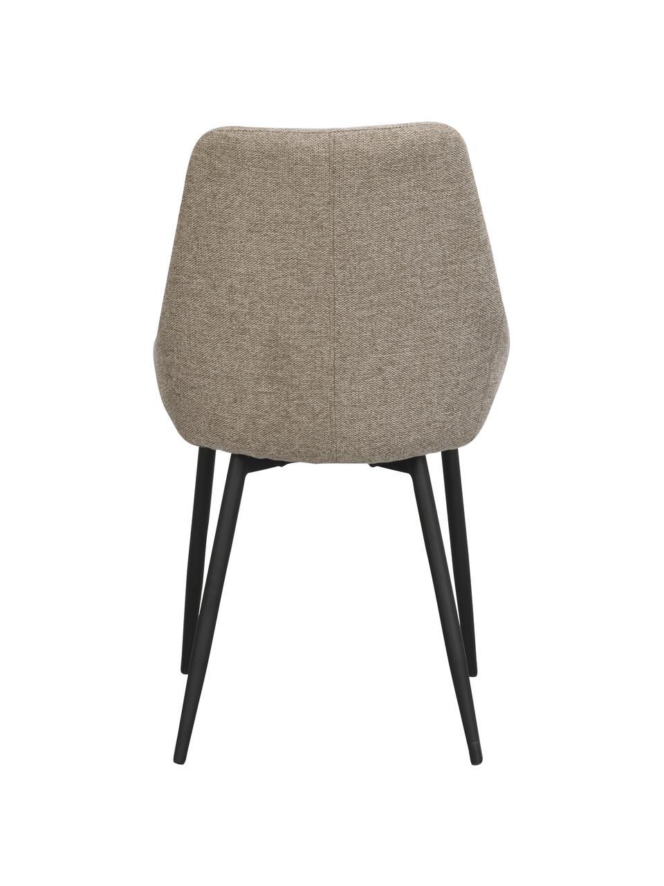 Gestoffeerde stoelen Sierra in beige, 2 stuks, Bekleding: 100% polyester, Poten: gepoedercoat metaal, Geweven stof beige, 49 x 55 cm