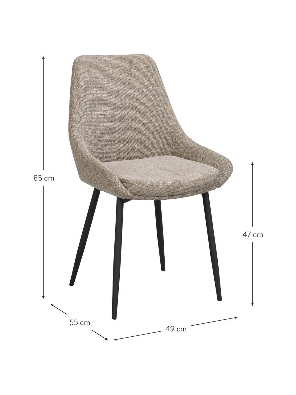 Krzesło tapicerowane Sierra, 2 szt., Tapicerka: 100% poliester, Nogi: metal malowany proszkowo, Beżowy, S 49 x G 55 cm