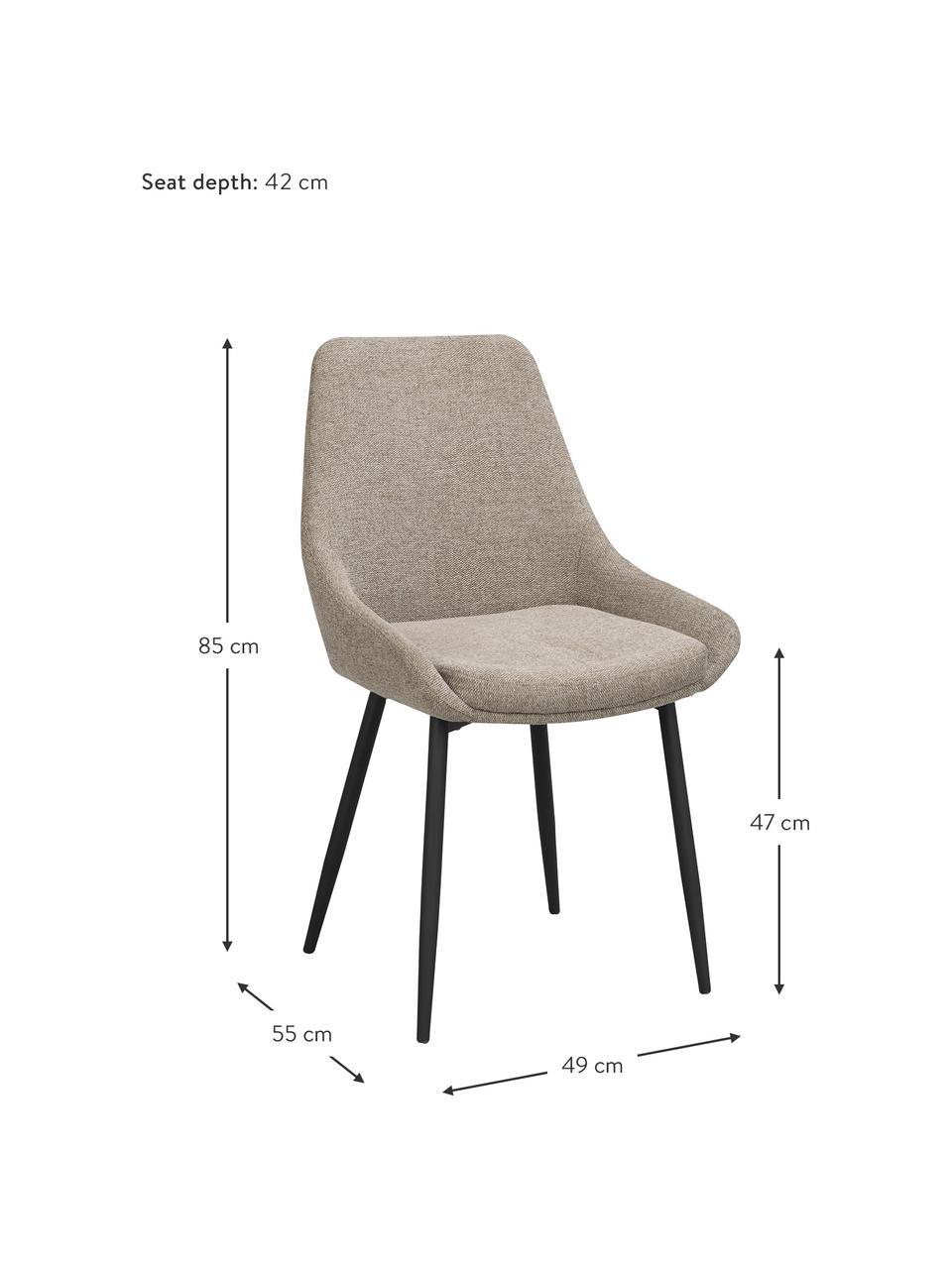 Polsterstühle Sierra in Beige, 2 Stück, Bezug: 100% Polyester, Beine: Metall, pulverbeschichtet, Webstoff Beige, B 49 x T 55 cm
