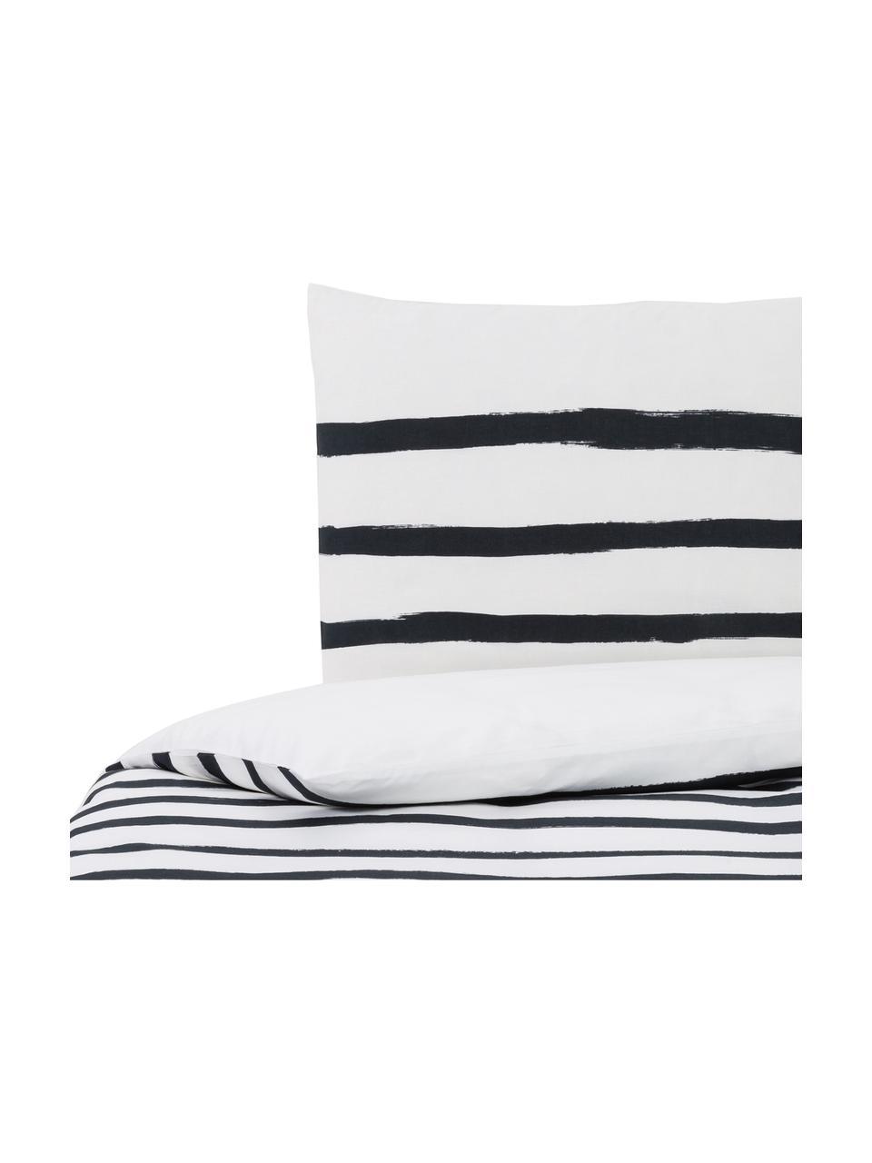 Dubbelzijdig dekbedovertrek Stripes, Katoen, Bovenzijde: wit, zwart. Onderzijde: wit, 140 x 200 cm + 2 kussen 60 x 70 cm