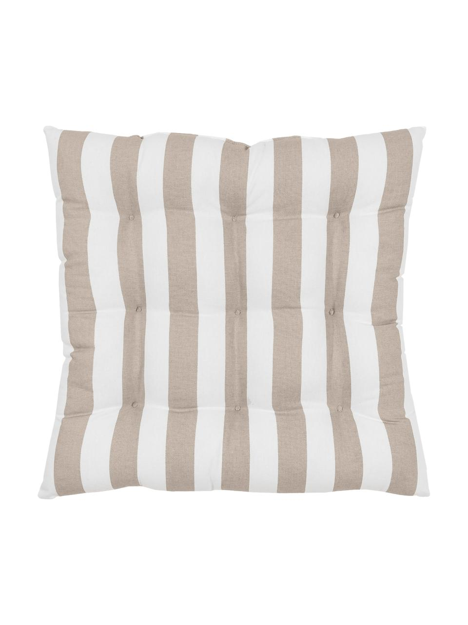 Cuscino sedia a righe taupe/bianco Timon, Rivestimento: 100% cotone, Taupe, bianco, Larg. 40 x Lung. 40 cm