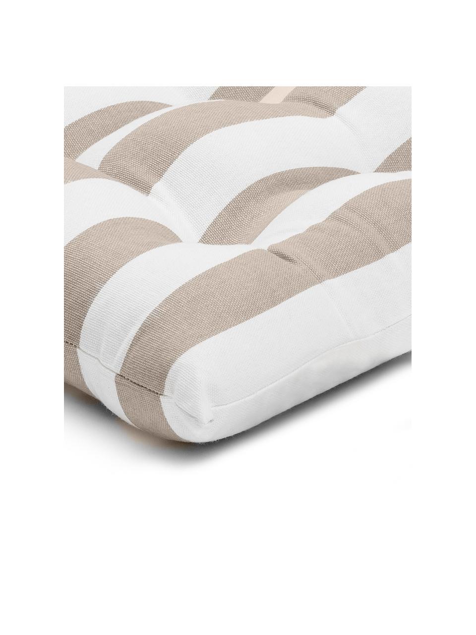 Gestreiftes Sitzkissen Timon in Taupe/Weiß, Bezug: 100% Baumwolle, Taupe, Weiß, 40 x 40 cm