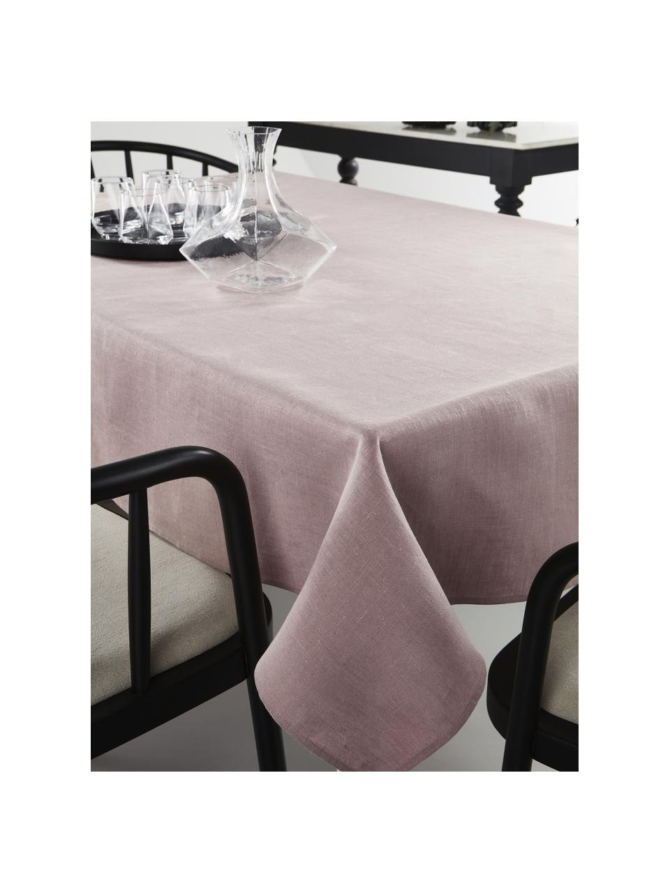 Tovaglia in lino rosa Heddie, 100% lino, Rosa, Per 6-10 persone (Larg. 145 x Lung. 250 cm)