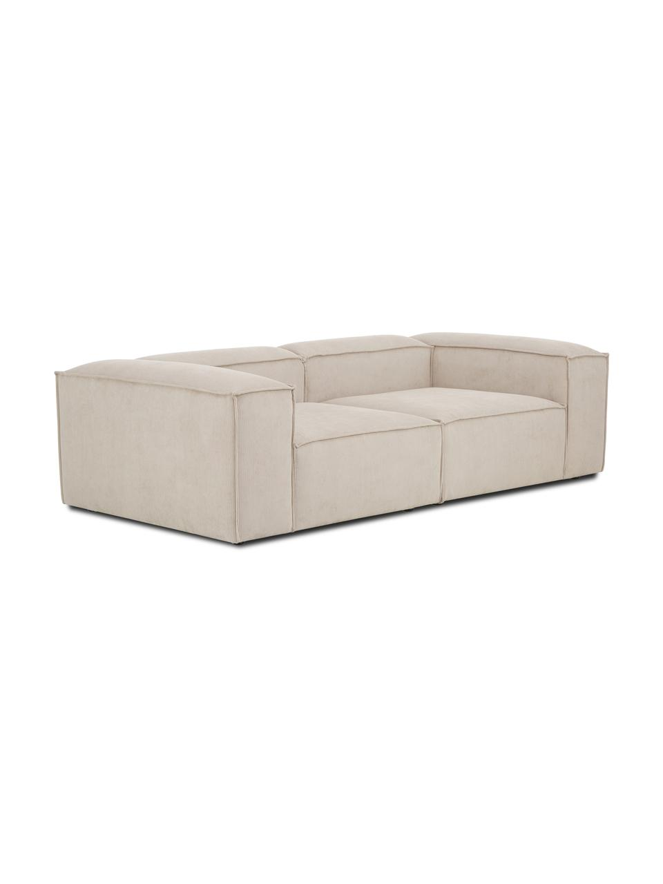 Sofa modułowa ze sztruksu Lennon (3-osobowa), Tapicerka: sztruks (92% poliester, 8, Stelaż: lite drewno sosnowe, skle, Nogi: tworzywo sztuczne Nogi zn, Sztruksowy beżowy, S 238 x G 119 cm