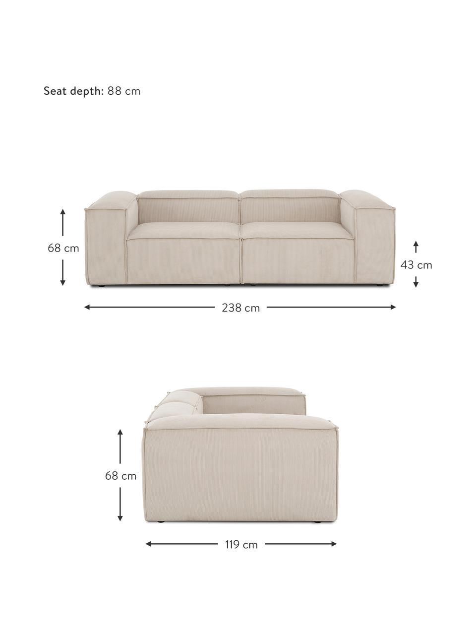 Modulaire bank Lennon (3-zits) in beige van corduroy, Bekleding: corduroy (92% polyester, , Frame: massief grenenhout, multi, Poten: kunststof De poten bevind, Corduroy beige, 238 x 119 cm