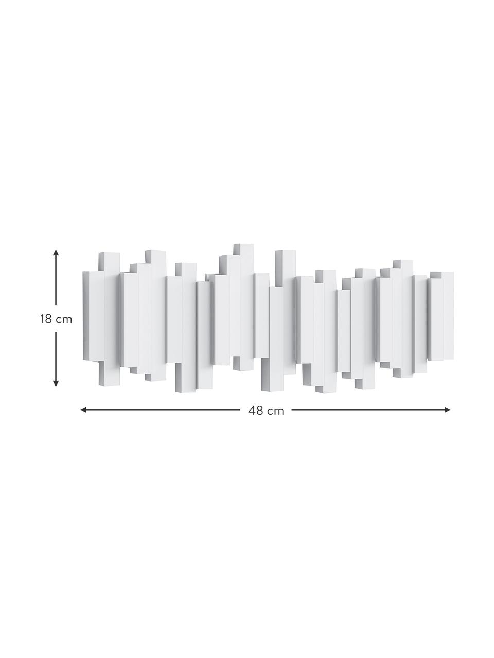 Ganci appendiabiti bianco Sticks, Materiale sintetico, Bianco, Larg. 48 x Alt. 18 cm