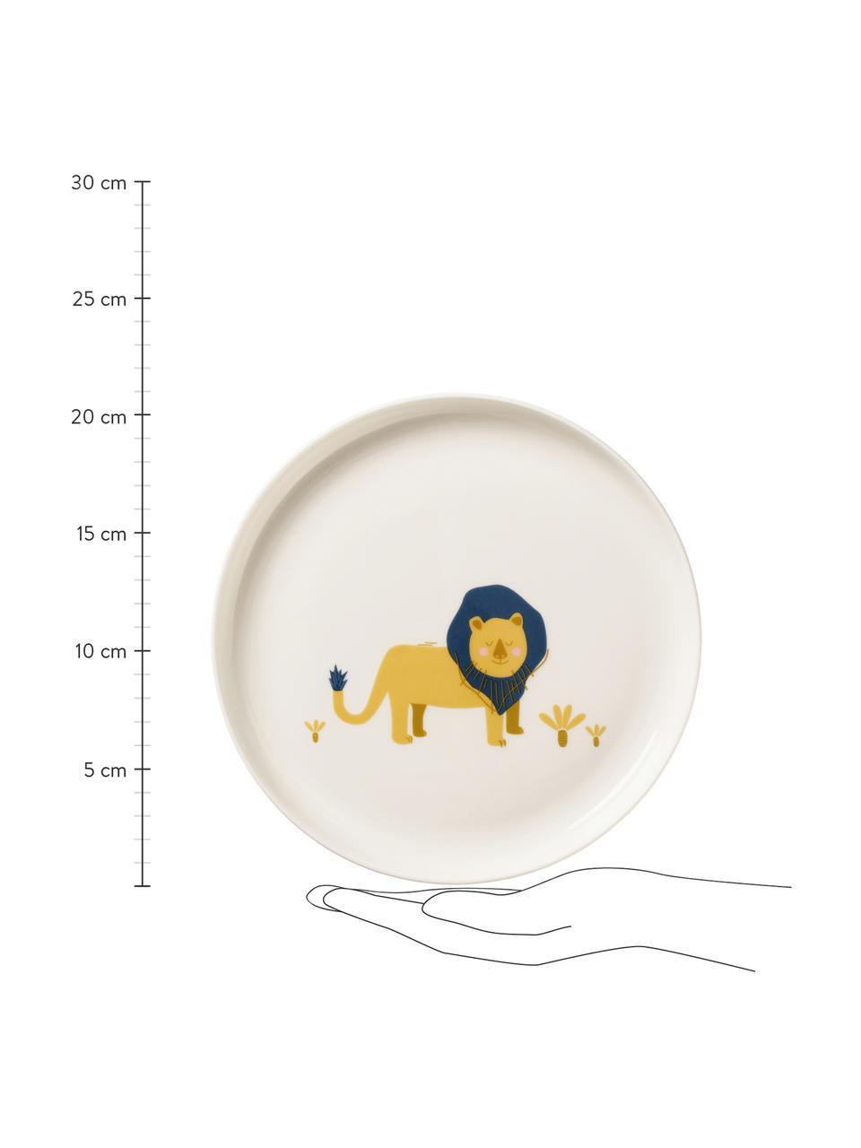 Geschirr-Set Leo Löwe, 5-tlg., Fine Bone China (Porzellan), Weiß, Gelb, Blau, Set mit verschiedenen Größen